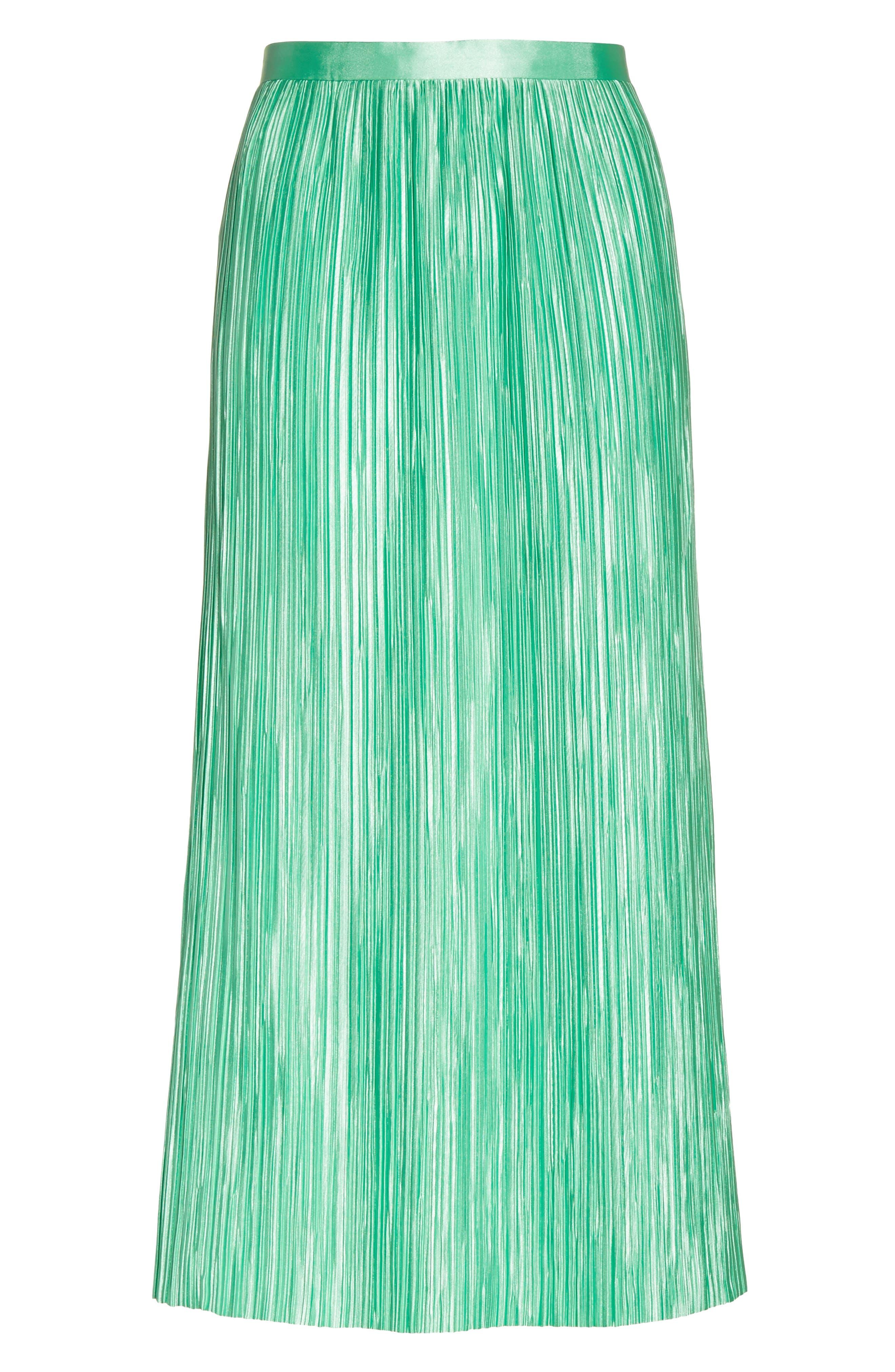 Plissé Pleated Midi Skirt,                             Alternate thumbnail 6, color,                             Kelly Green