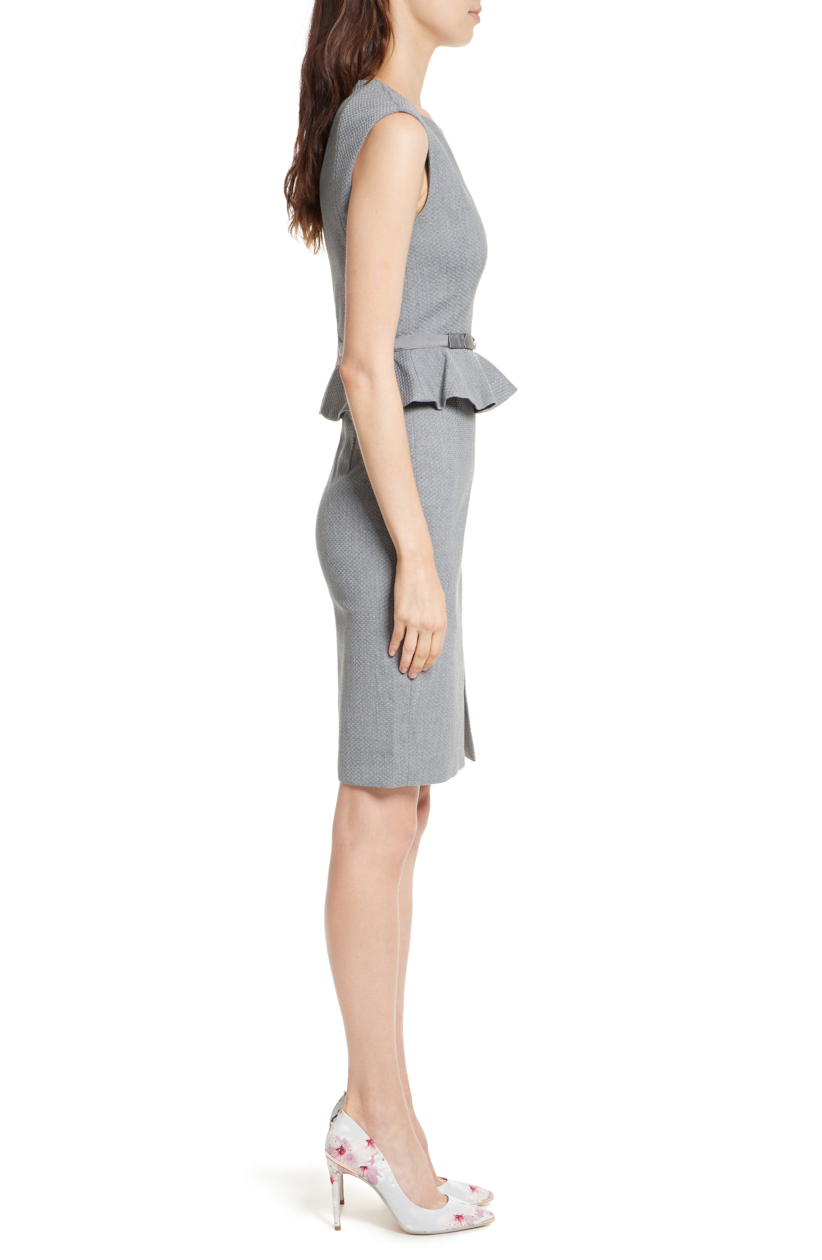Nadaed Bow Detail Textured Peplum Dress,                             Alternate thumbnail 3, color,                             Mid Grey