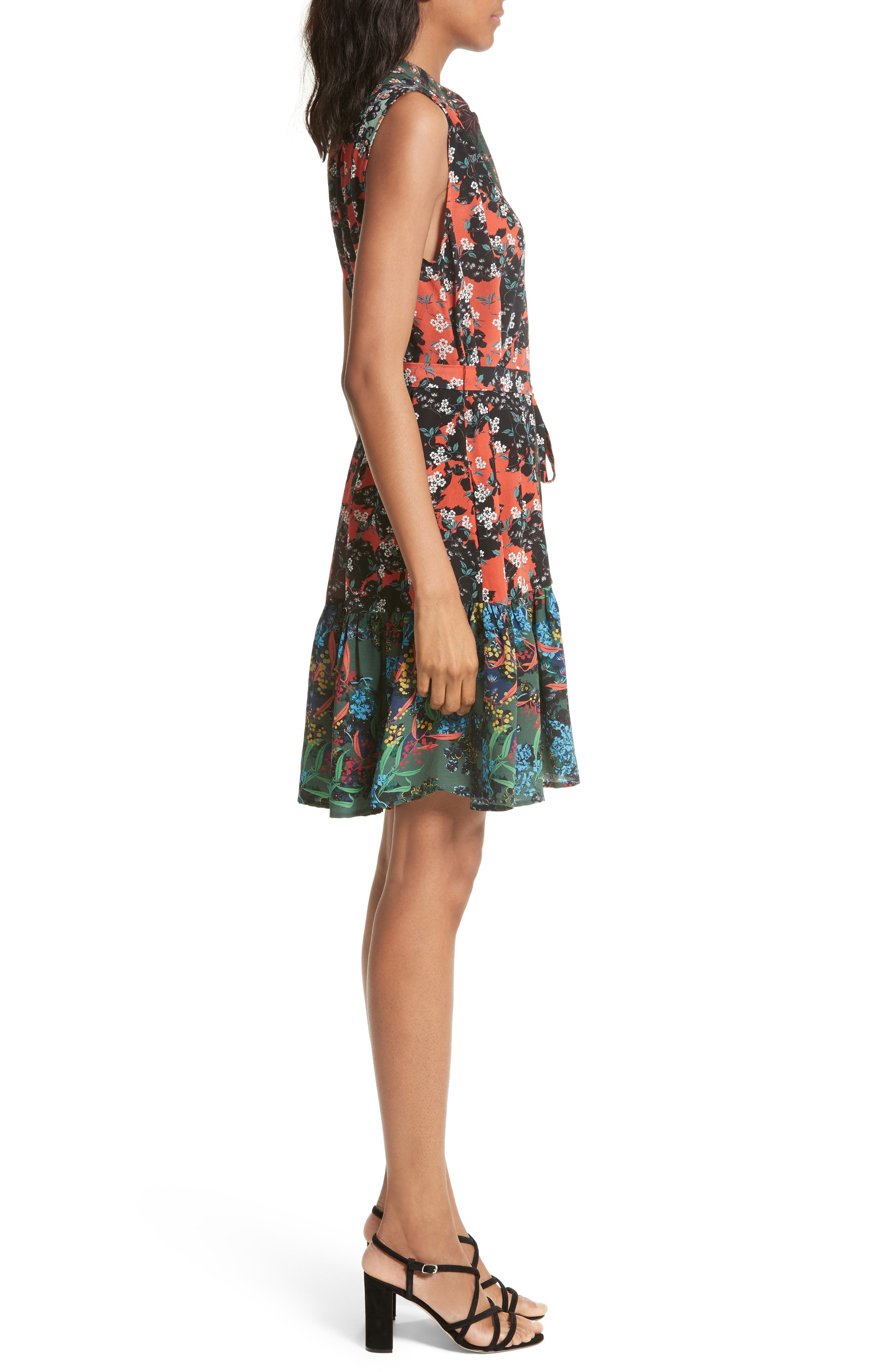 Tilly Print Silk Fit & Flare Dress,                             Alternate thumbnail 3, color,                             Coral Orchid/ Forest