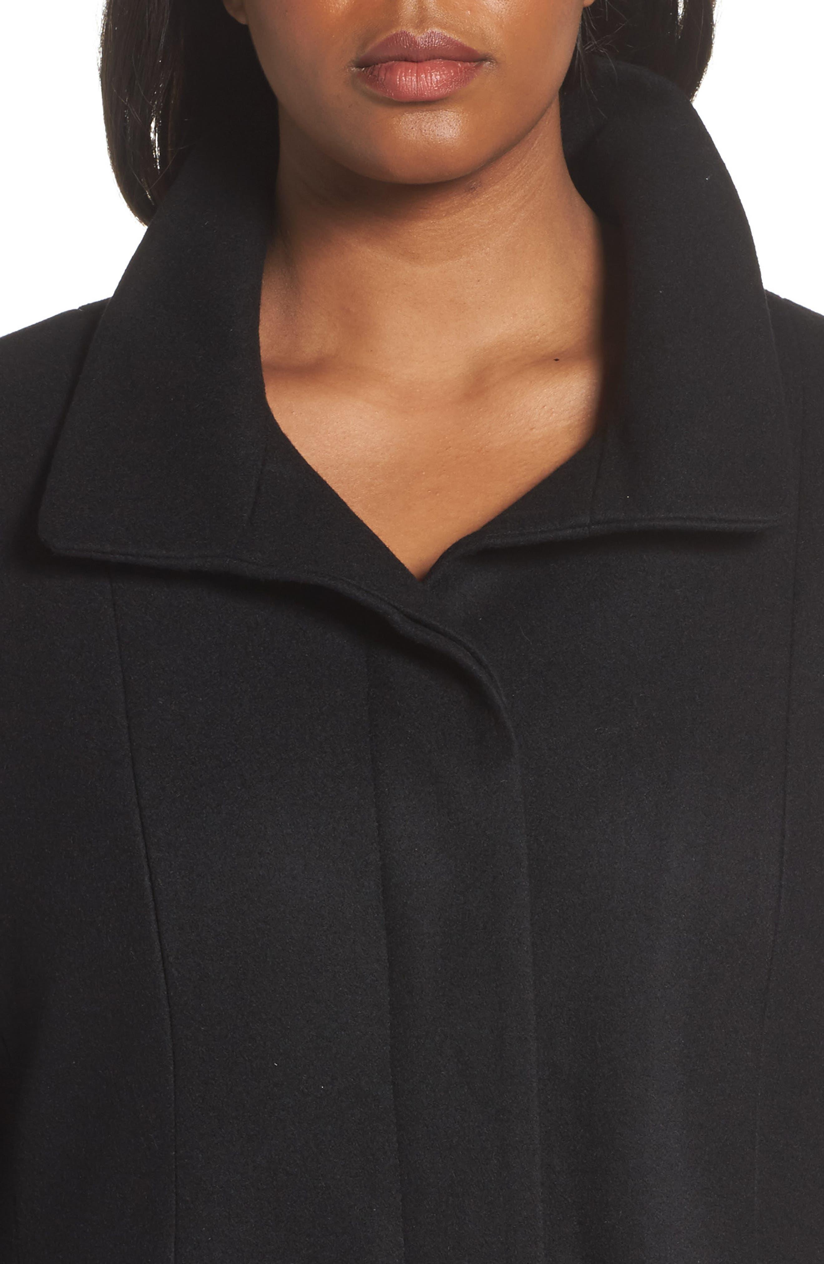 Full Length Wool Blend Coat,                             Alternate thumbnail 4, color,                             Black