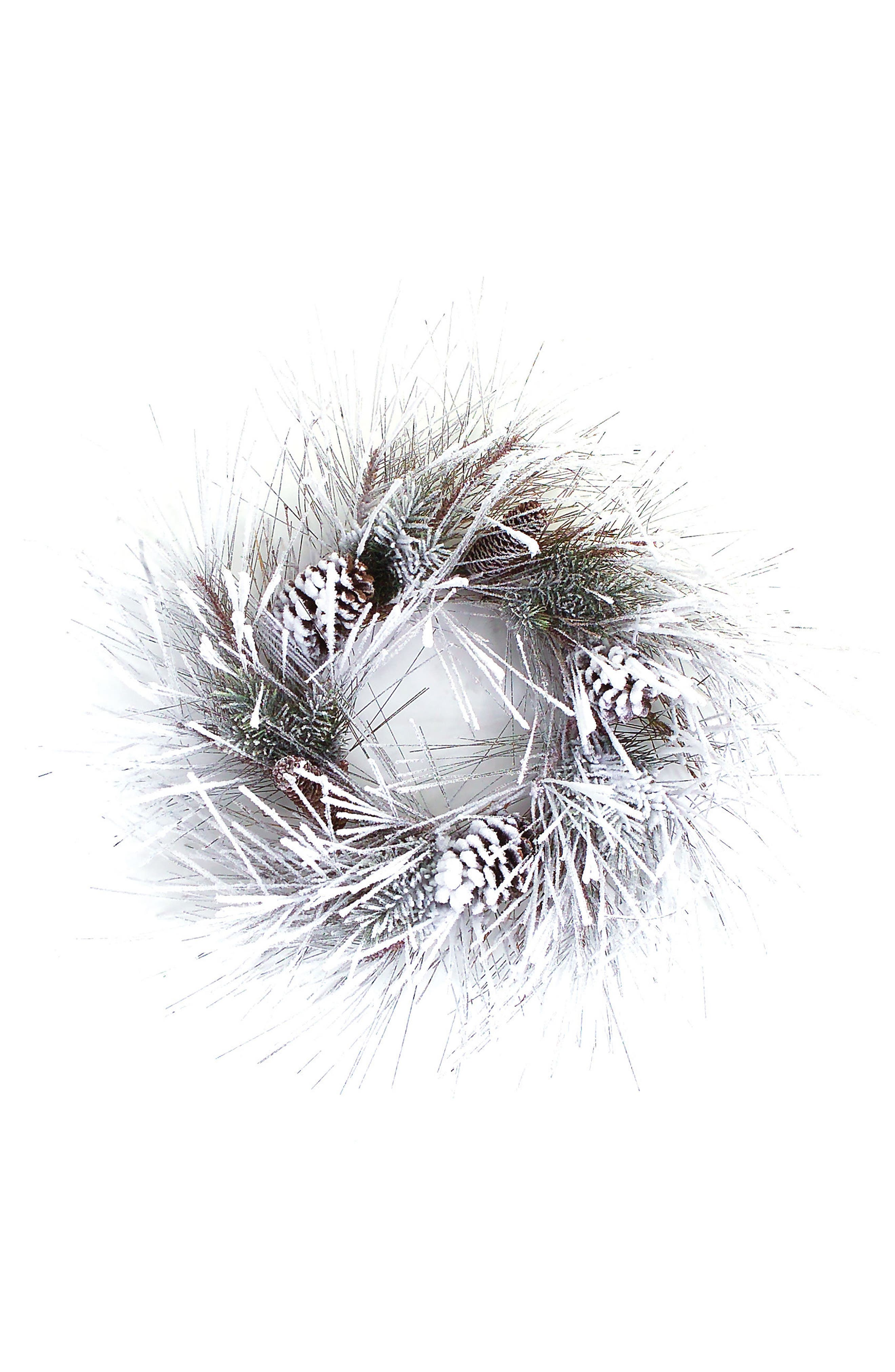 Snowy Pine Wreath,                         Main,                         color, White