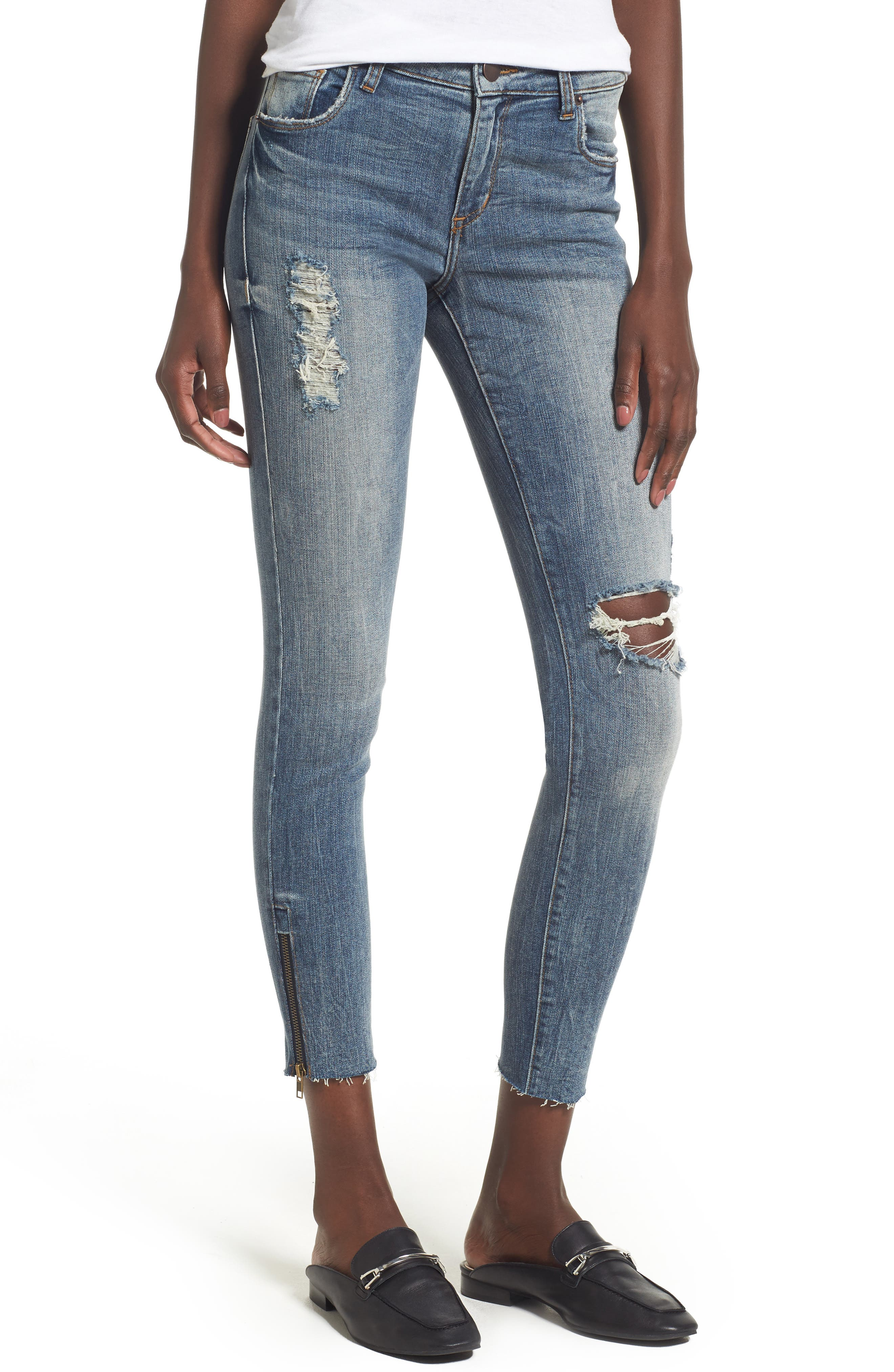 Taylor Zip Detail Skinny Ankle Jeans,                         Main,                         color, Rockland