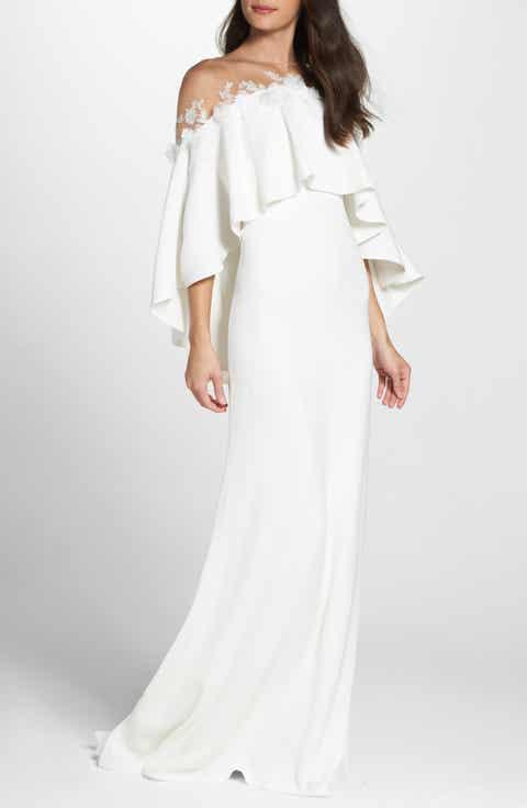 Tadashi Shoji Off The Shoulder Popover Gown