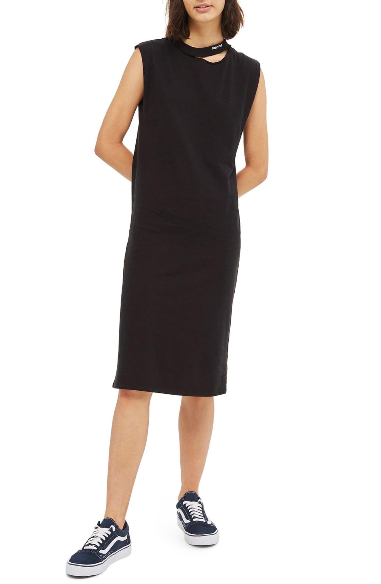 Topshop Ladder Back Washed Jersey Dress
