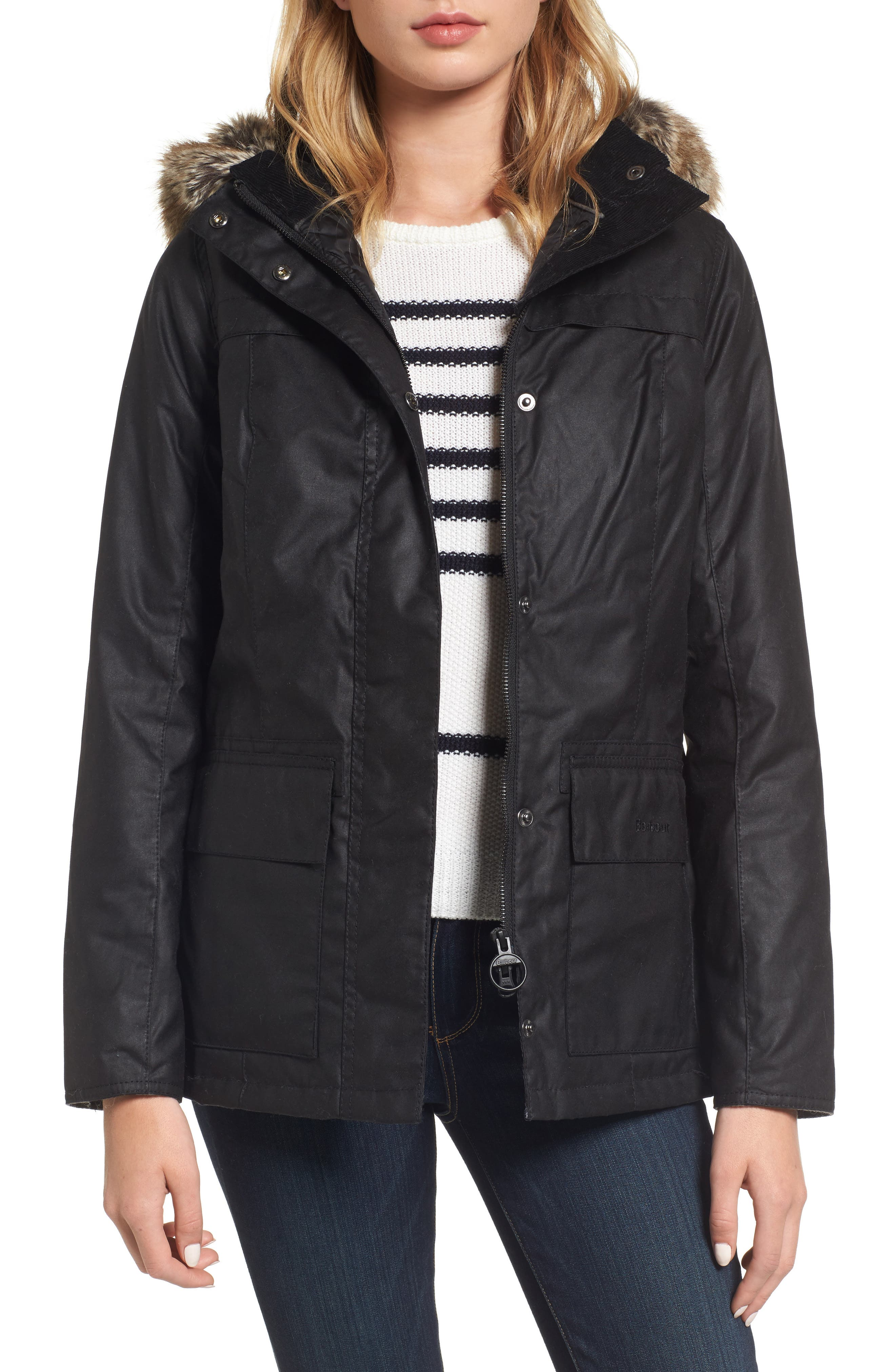 Alternate Image 1 Selected - Barbour Ellen Hooded Waxed Canvas Parka with Faux Fur Trim