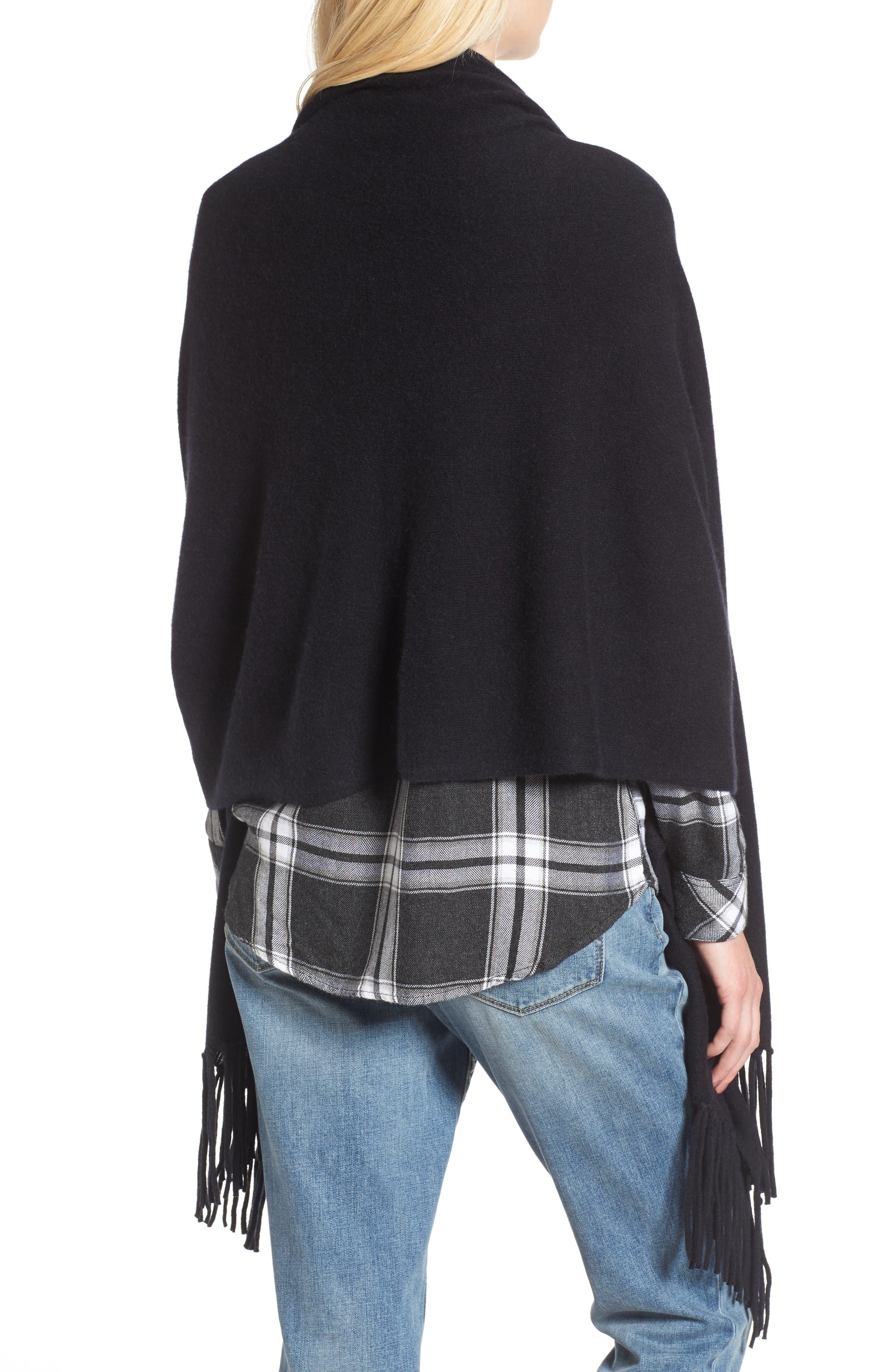 Collection Fringe Cashmere Wrap,                             Alternate thumbnail 2, color,                             Black