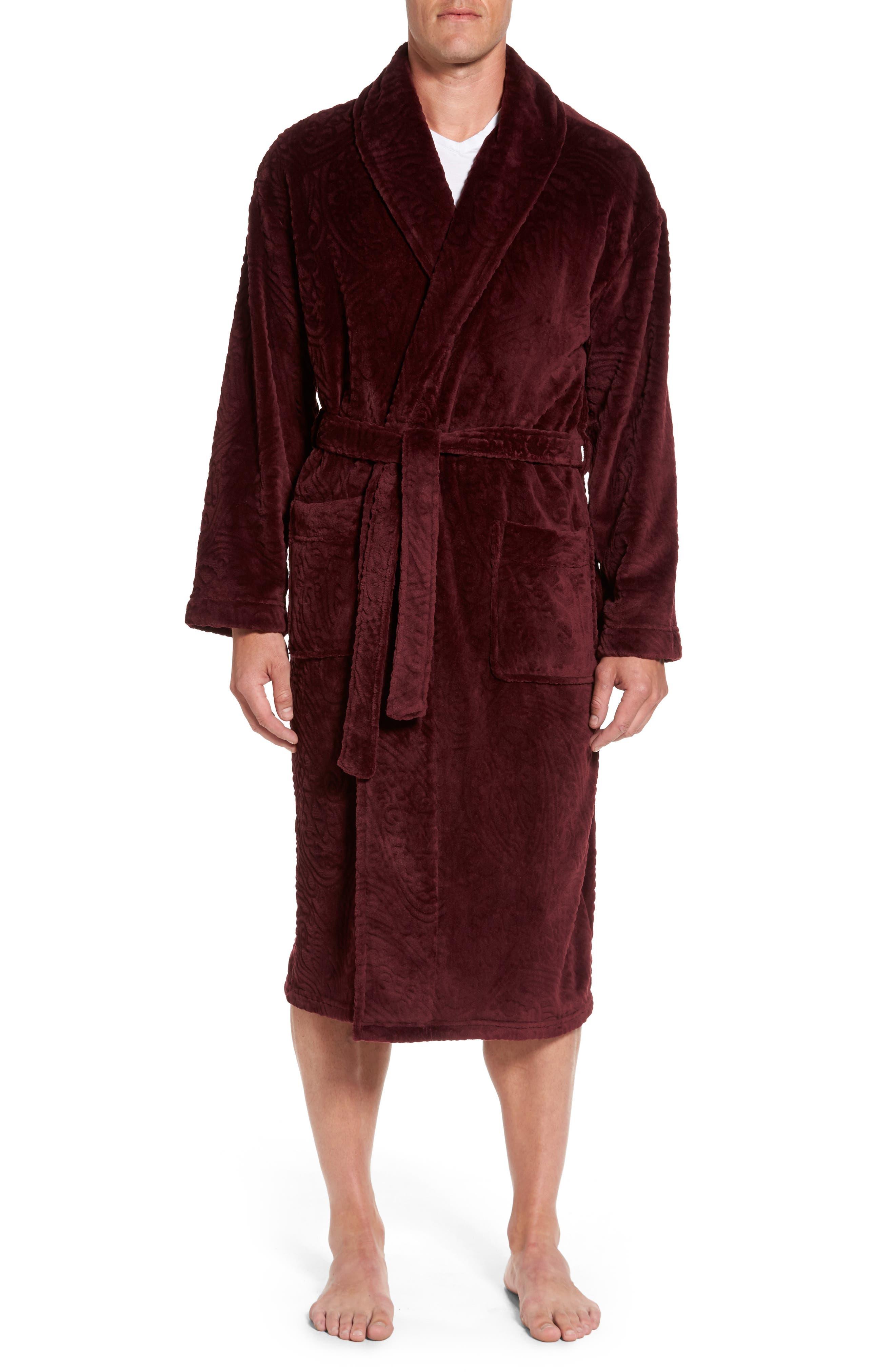 Midtown Robe,                             Main thumbnail 1, color,                             Burgundy Paisley