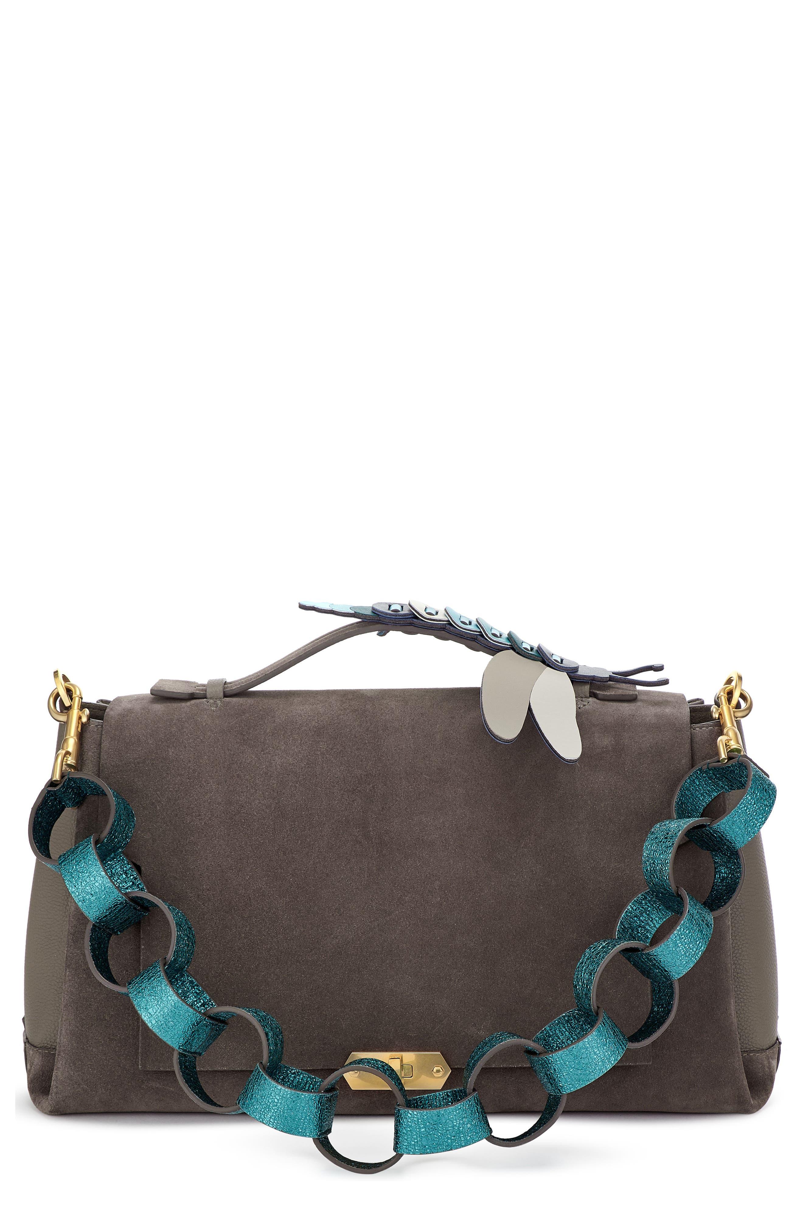 Bathurst Dragonfly Detail Leather & Suede Satchel,                             Main thumbnail 1, color,                             Porcini