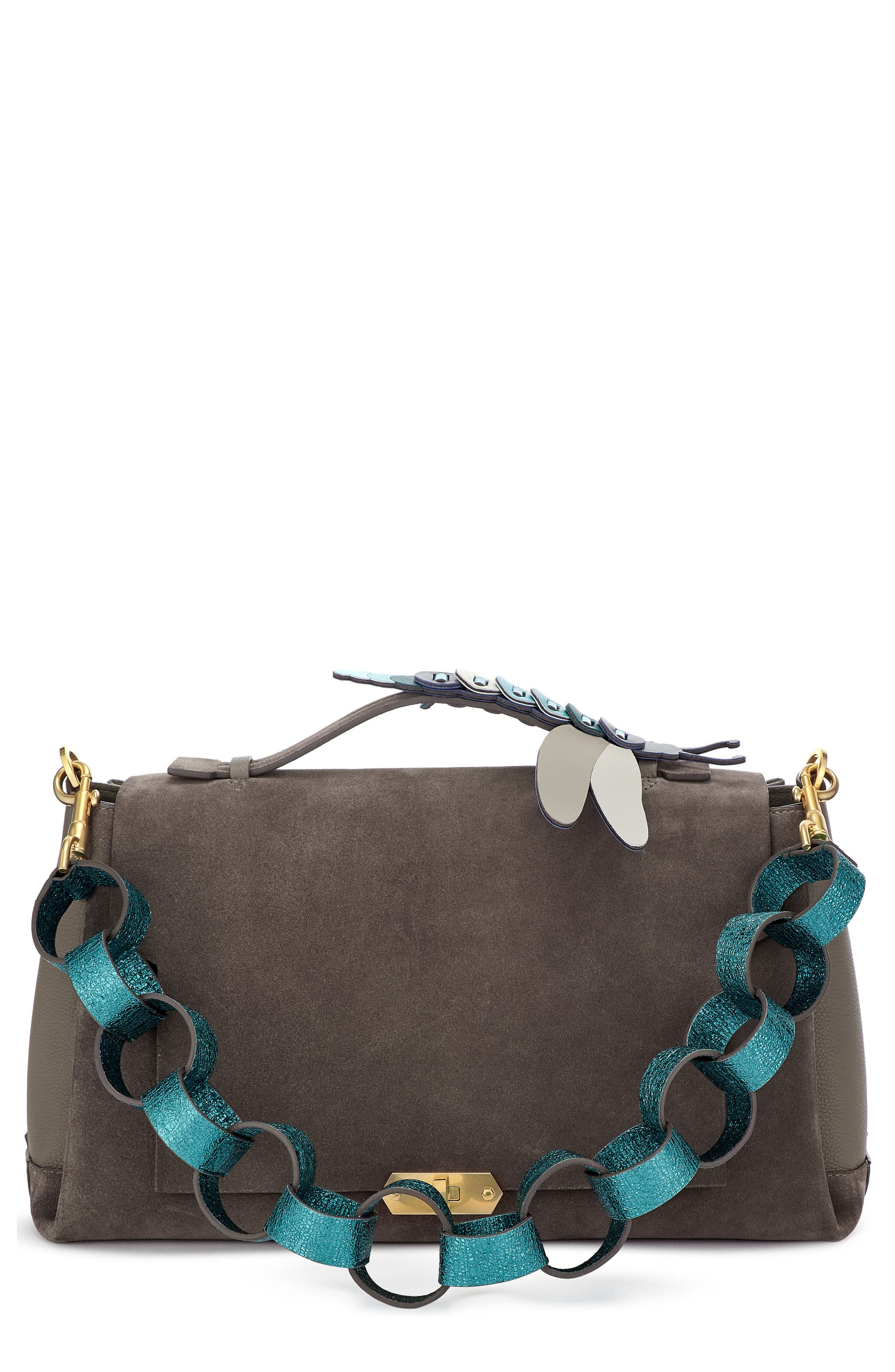 Main Image - Anya Hindmarch Bathurst Dragonfly Detail Leather & Suede Satchel