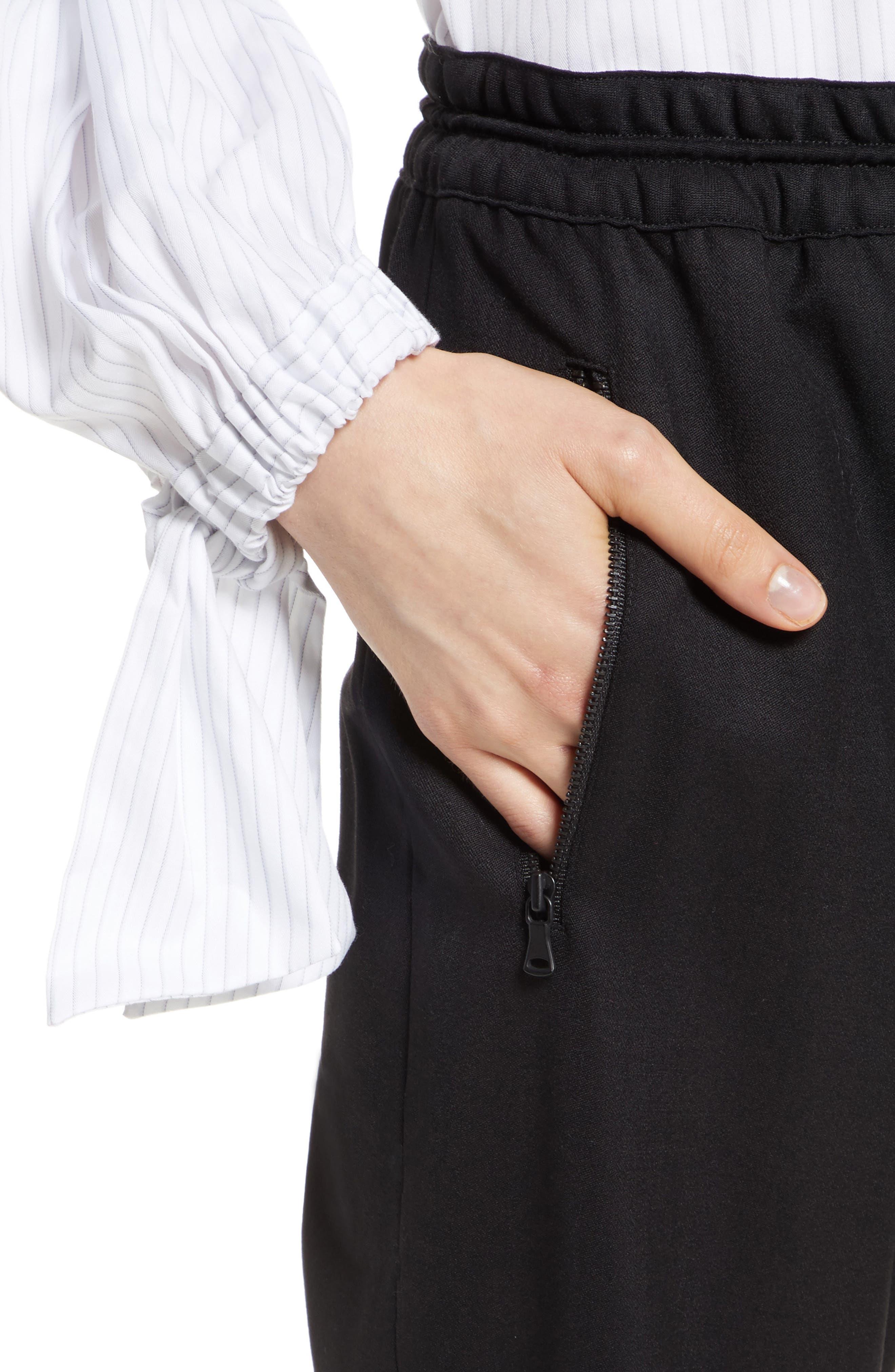 Italian Wool Gabardine Jogger Pants,                             Alternate thumbnail 5, color,                             Black