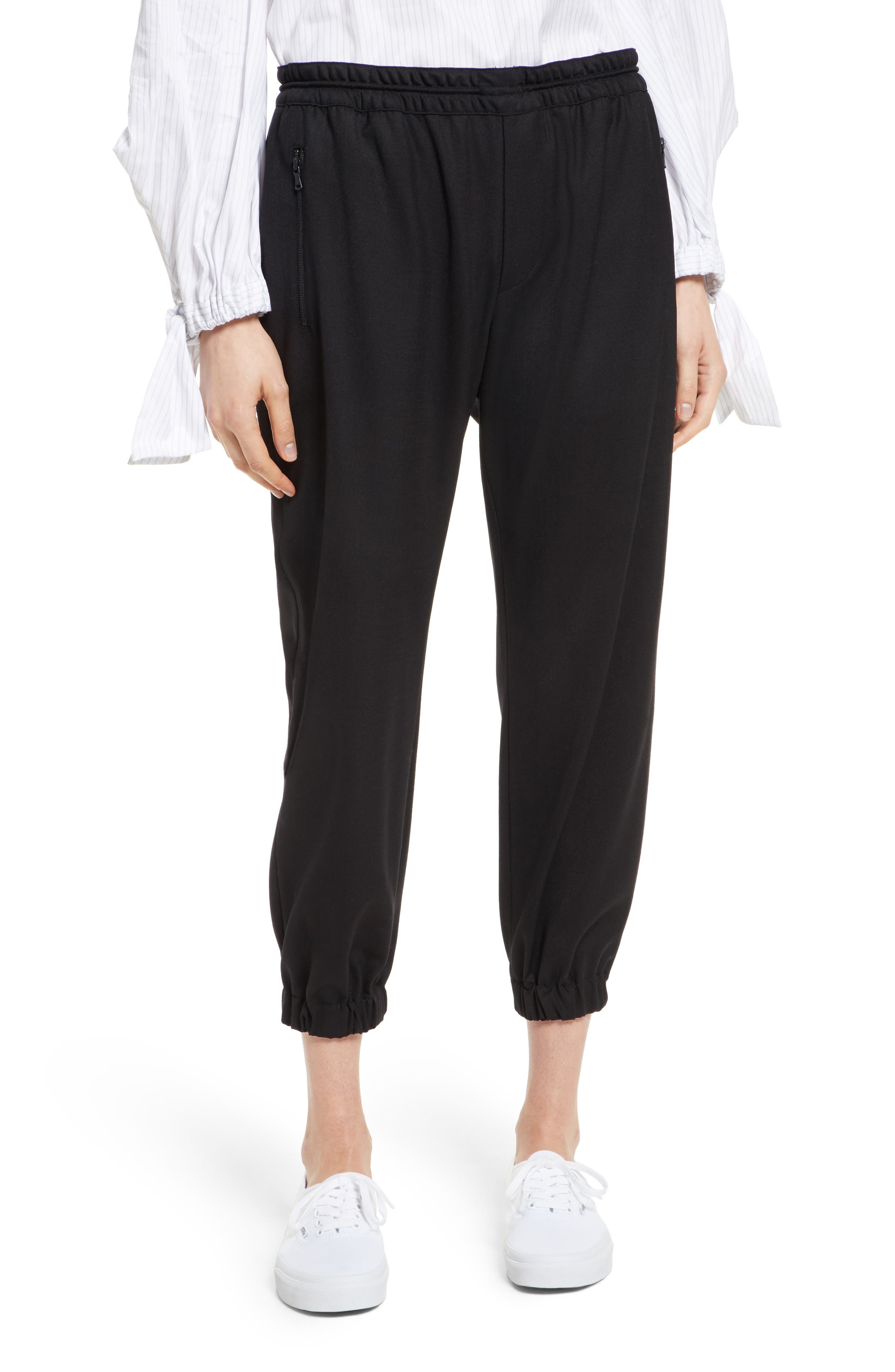 Italian Wool Gabardine Jogger Pants,                             Main thumbnail 1, color,                             Black