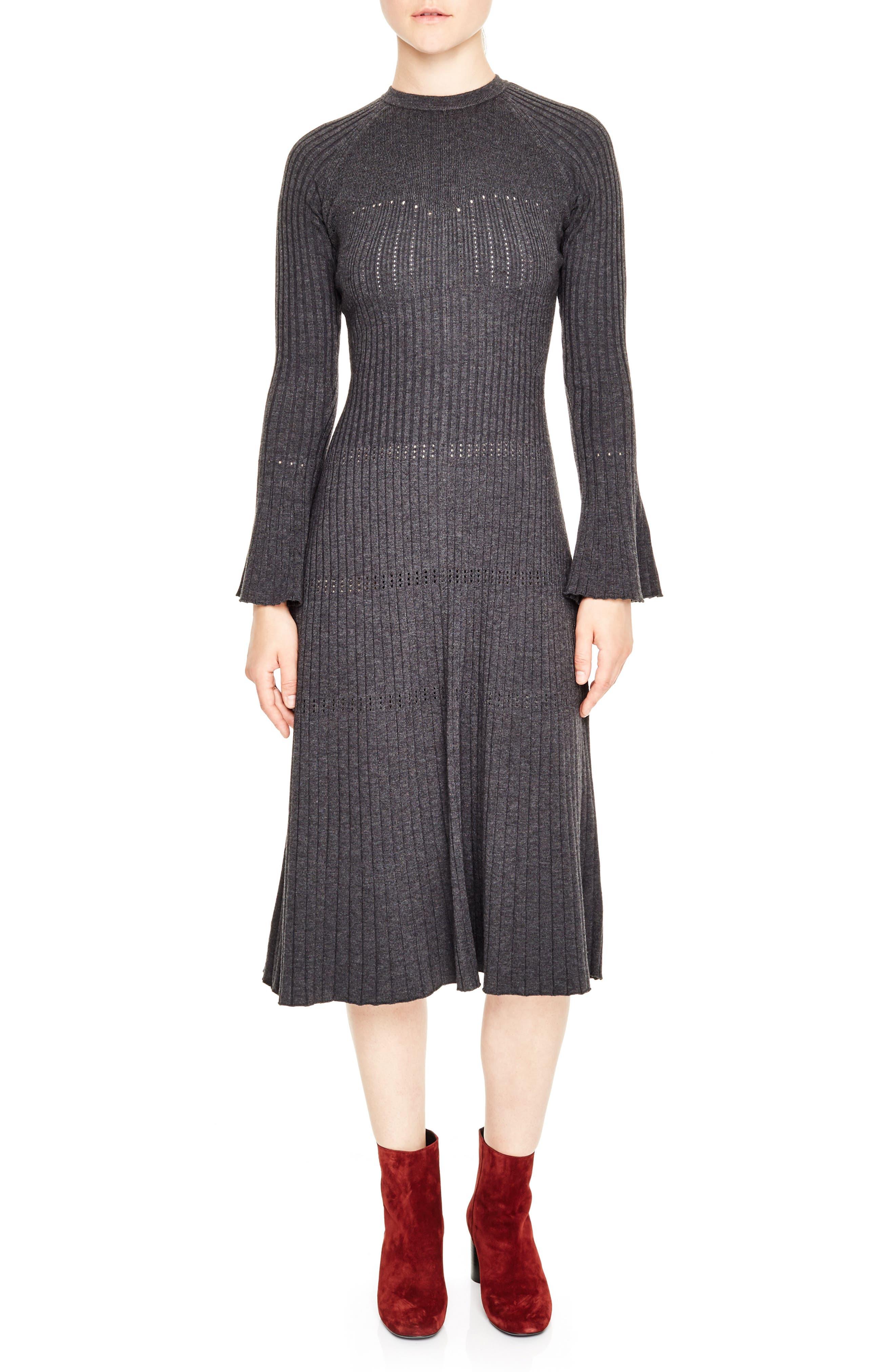 SANDRO Ribbed Midi Sweater Dress