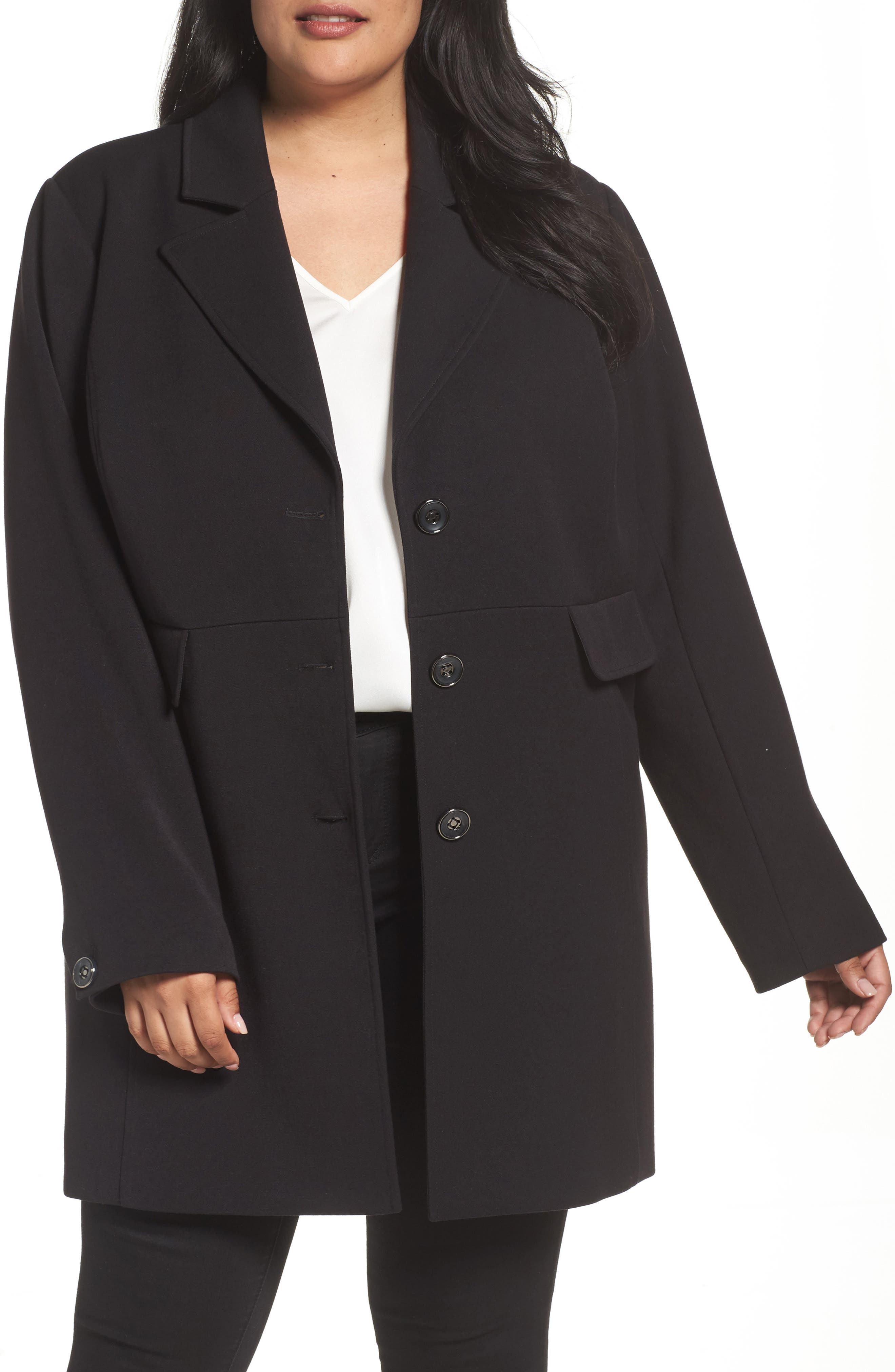 Single Breasted Ponte Coat,                             Main thumbnail 1, color,                             Black
