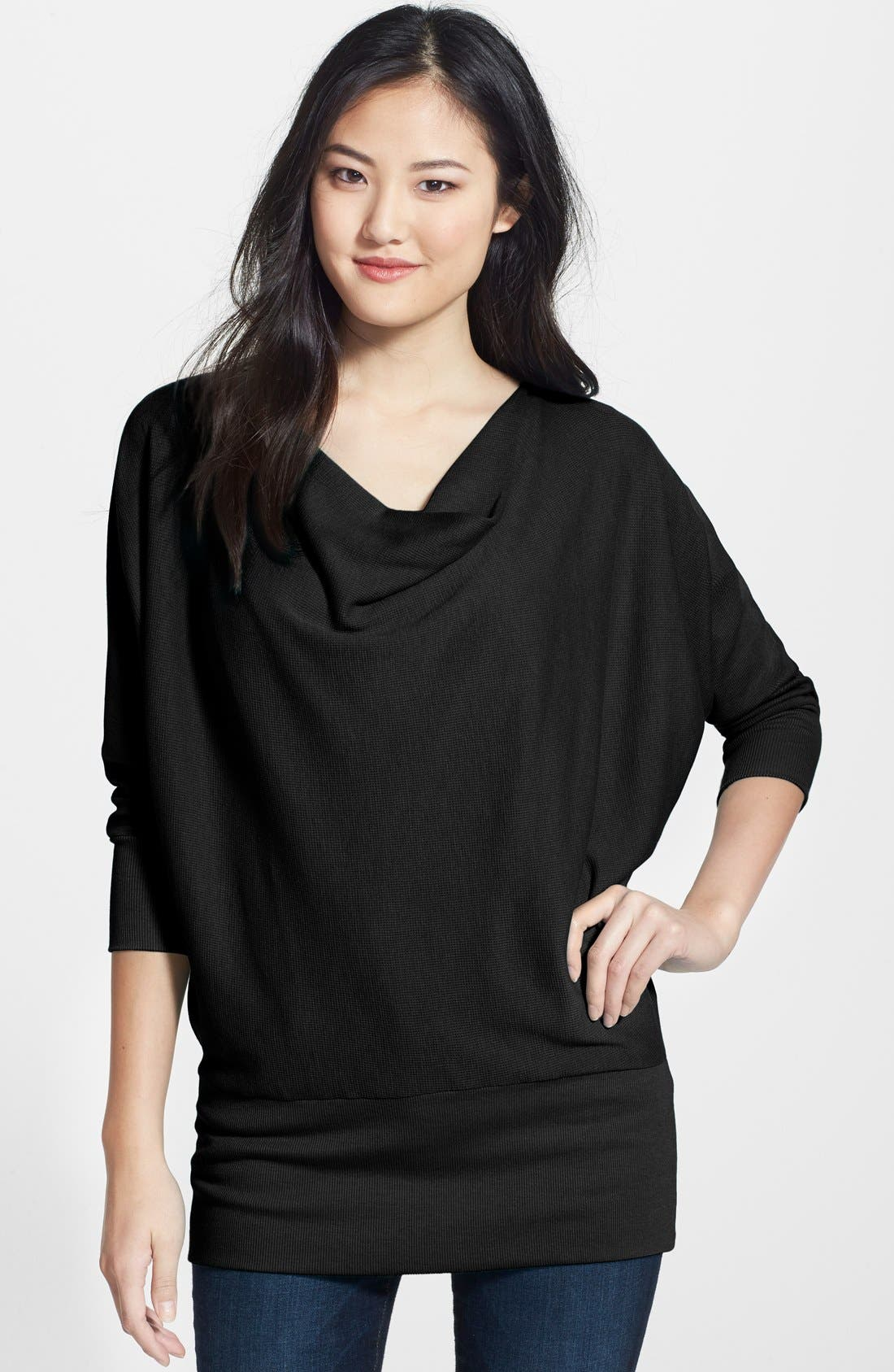 'Aidan' Drape Neck Thermal Top,                         Main,                         color, Black
