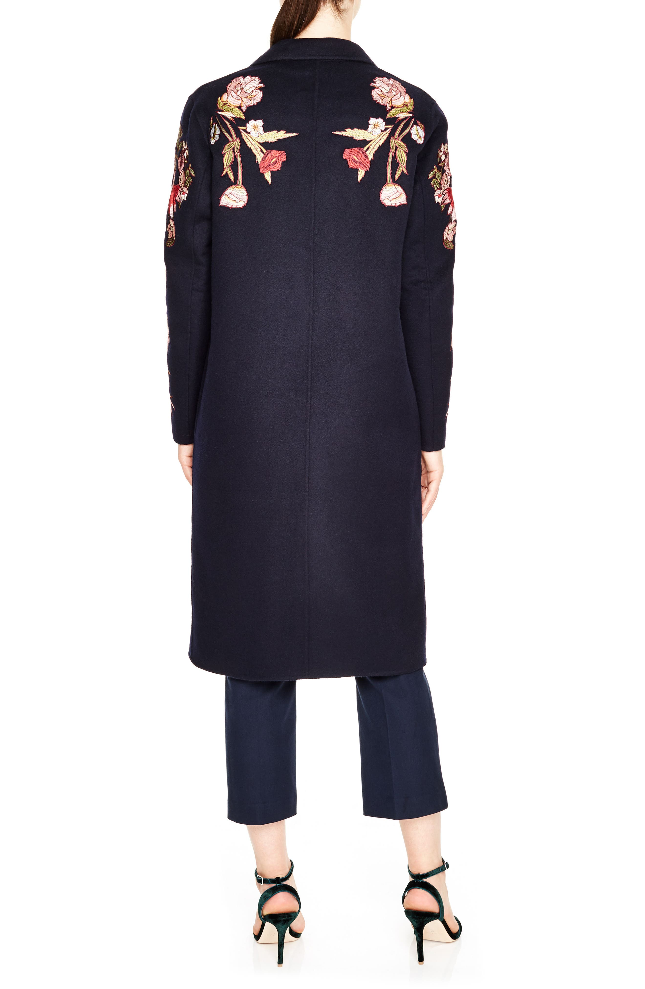 Alternate Image 2  - sandro Embroidered Long Wool Blend Coat