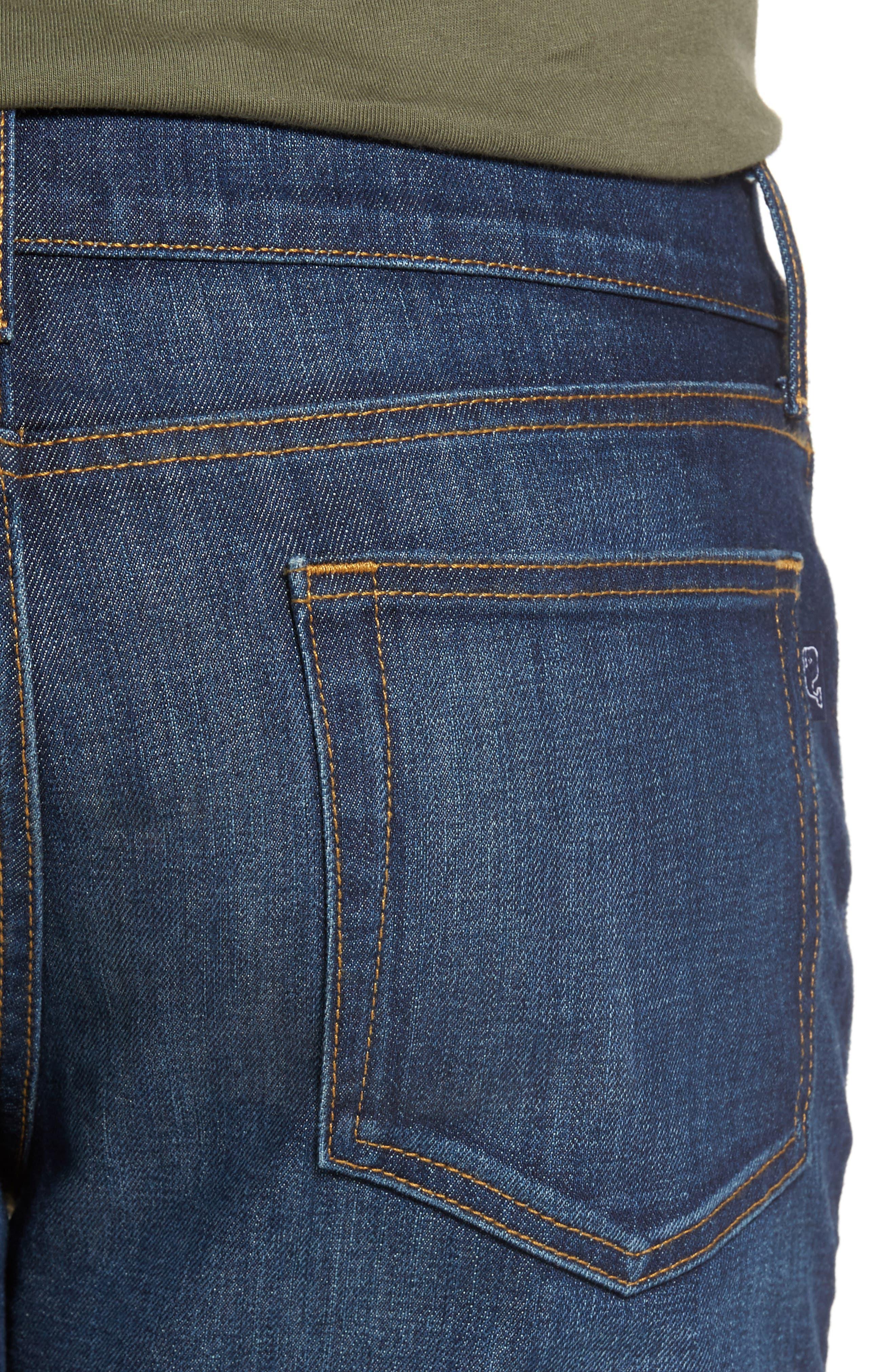 Slim Straight Leg Jeans,                             Alternate thumbnail 4, color,                             Hull Blue