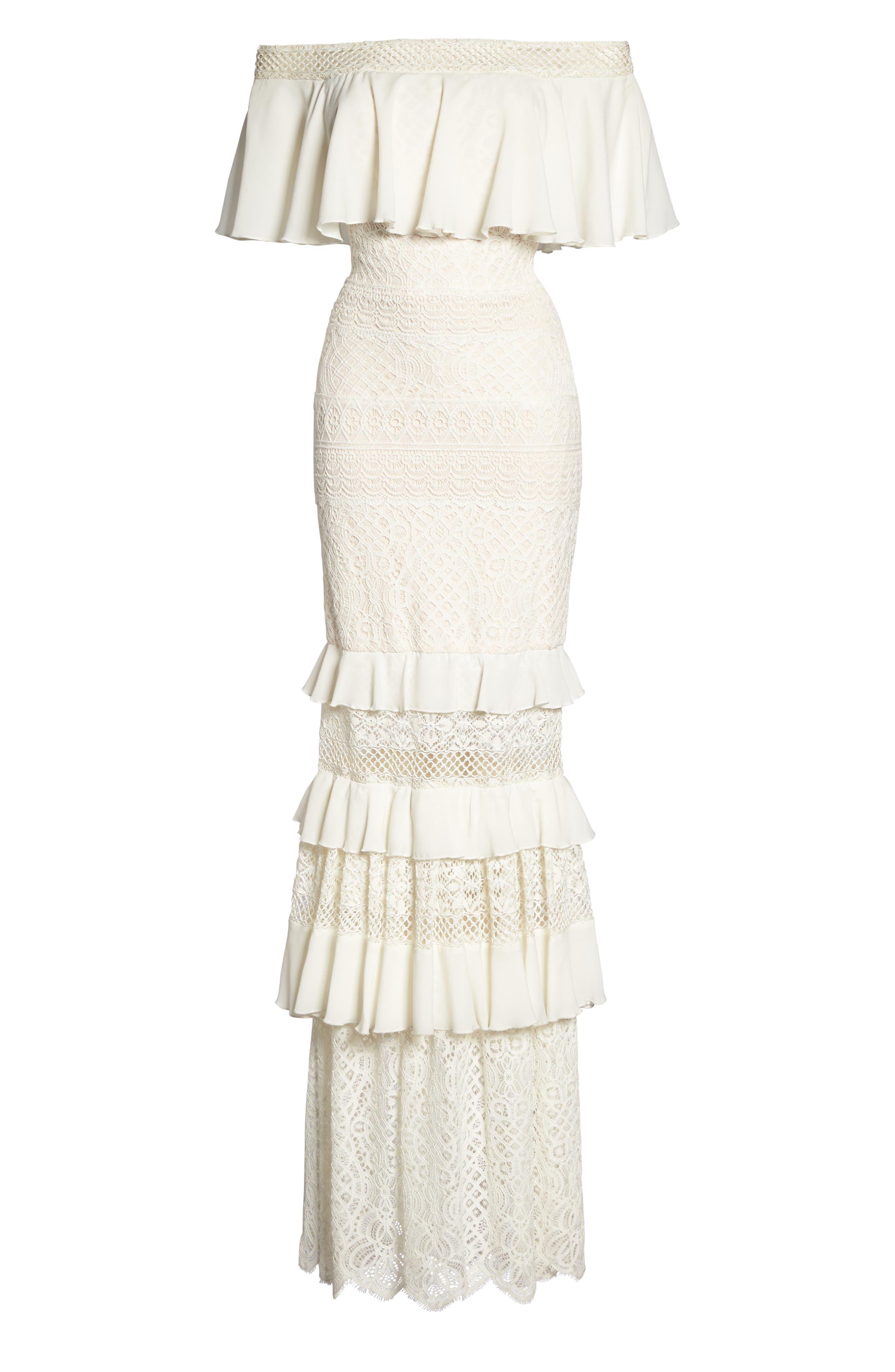 Off the Shoulder Crochet Gown,                             Alternate thumbnail 6, color,                             Ivory/ Primrose