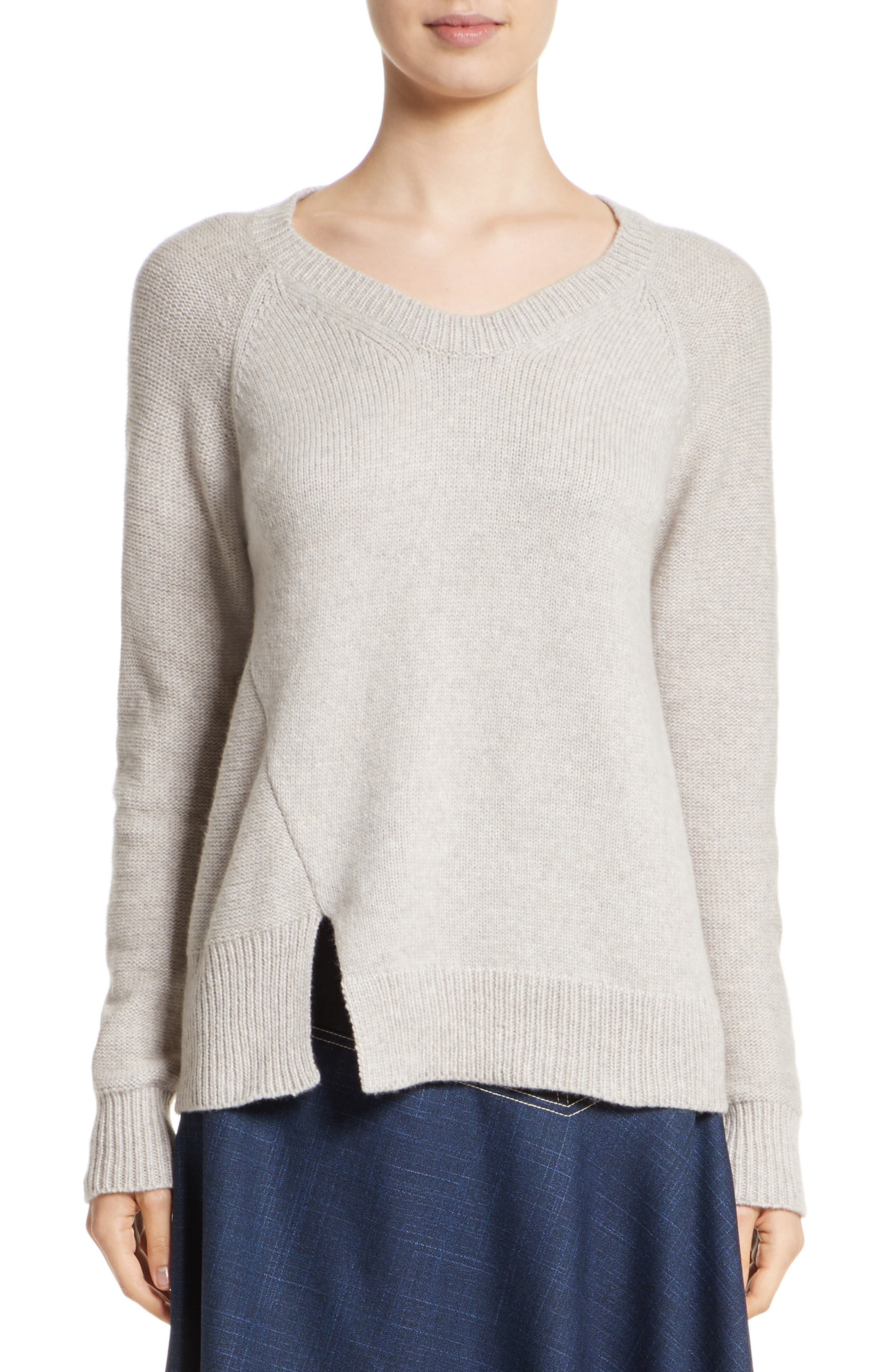 Asymmetrical Wide Neck Sweater,                             Main thumbnail 1, color,                             Sand