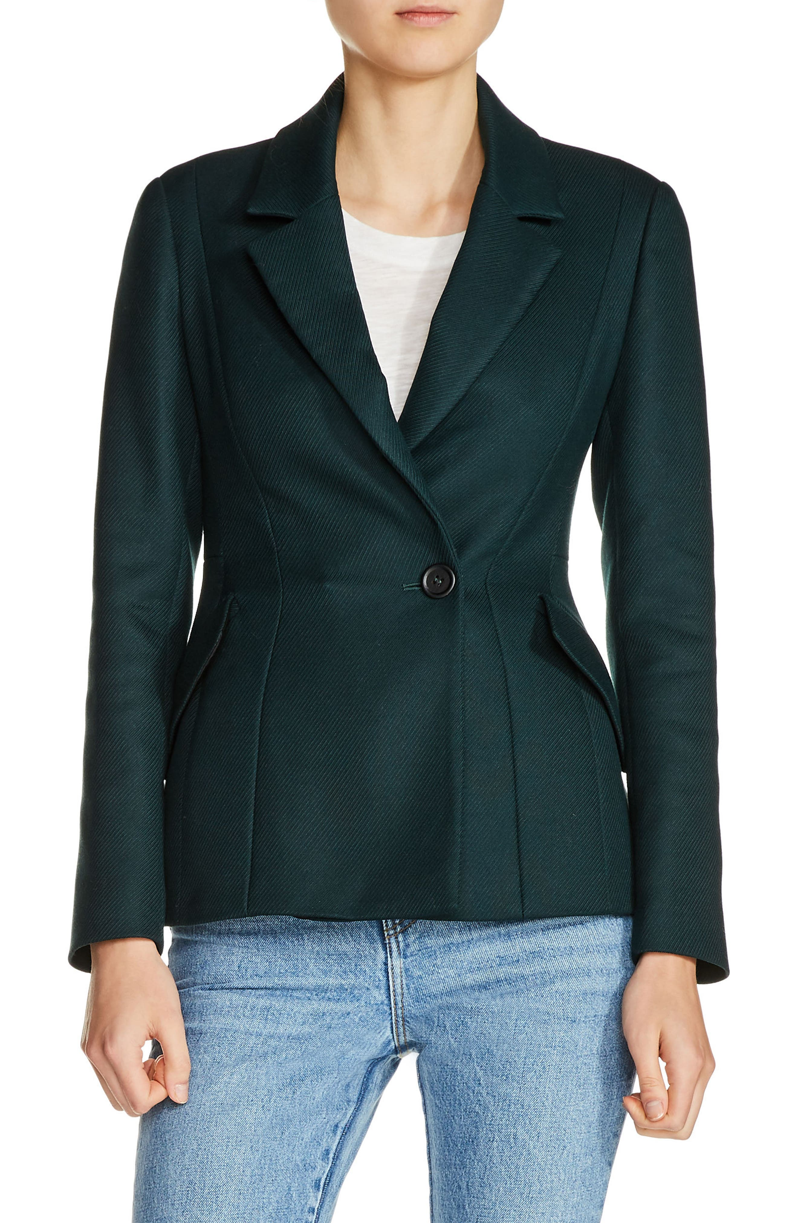 Fitted Blazer,                         Main,                         color, Green