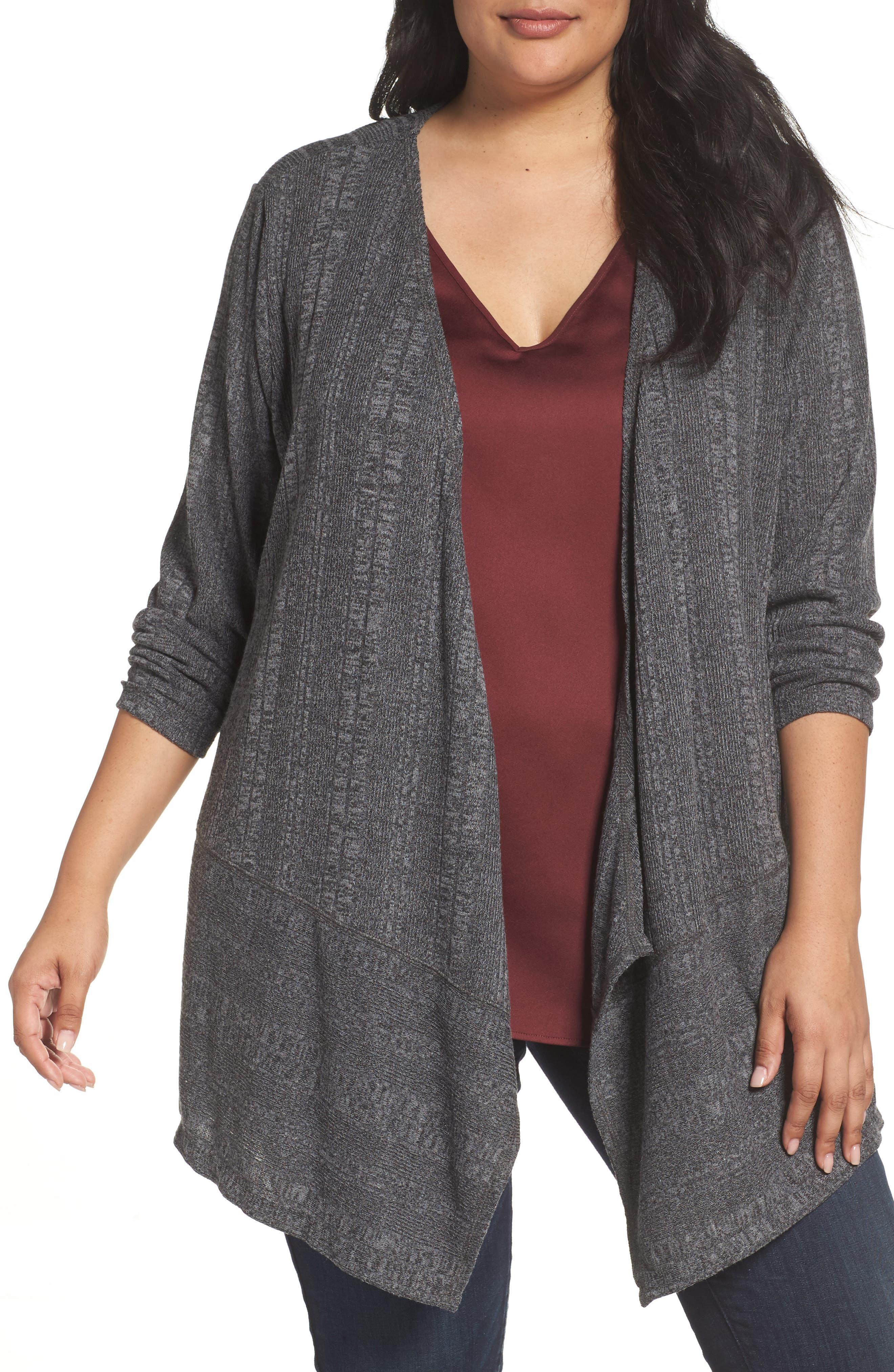 Ribbed Knit Cardigan,                         Main,                         color, Grey Charcoal Melange