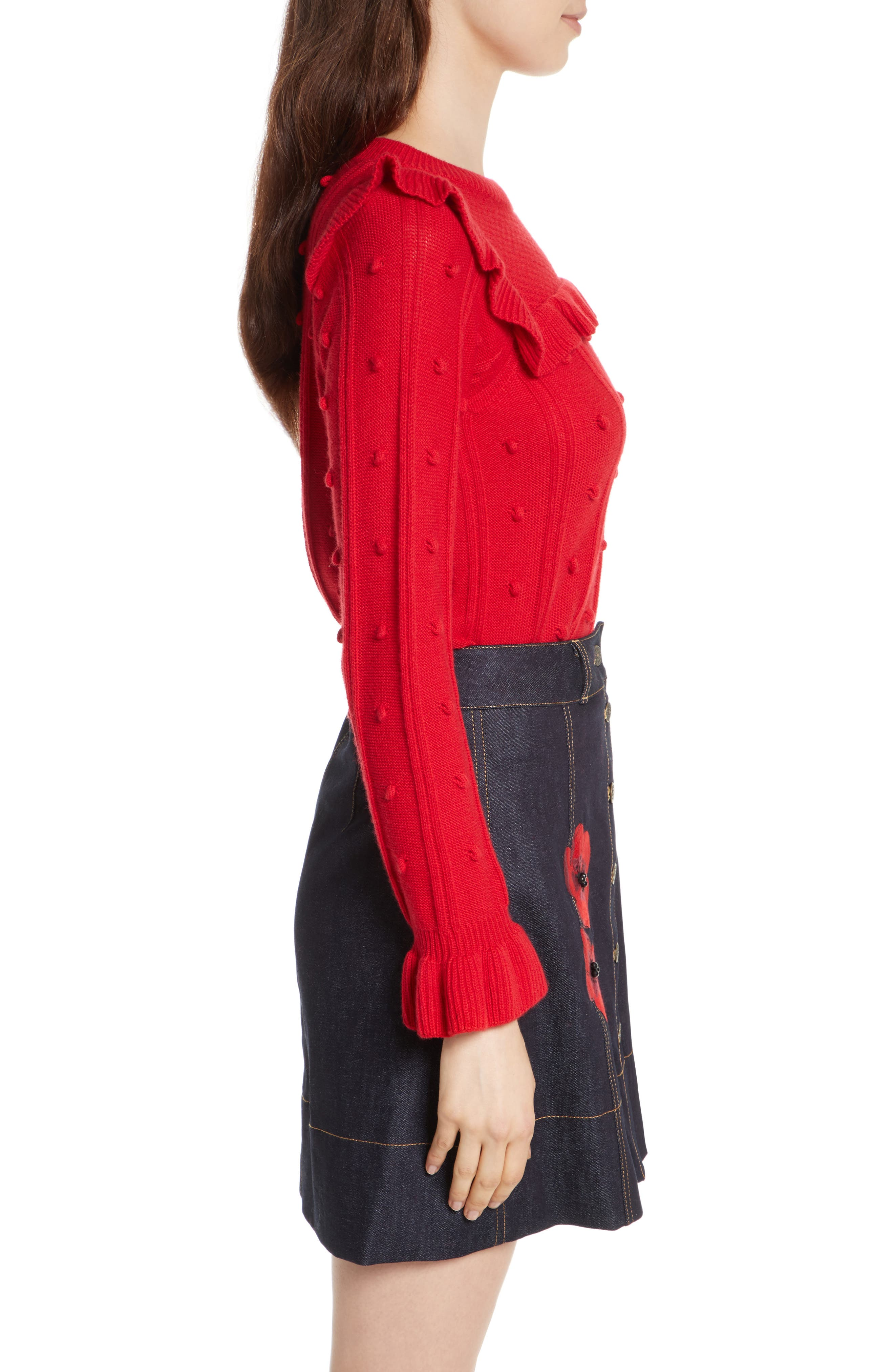 ruffle yoke sweater,                             Alternate thumbnail 4, color,                             Charm Red