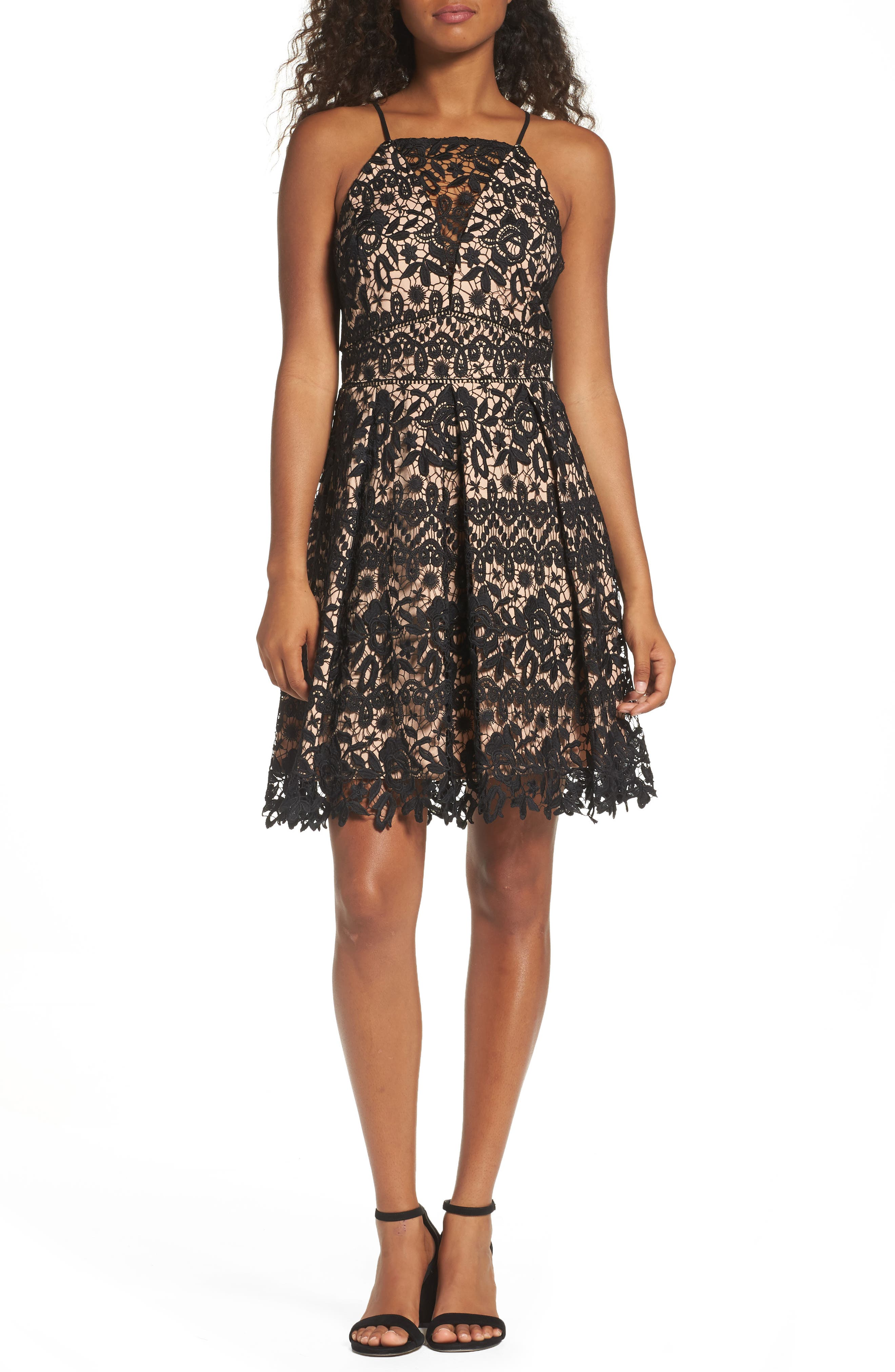 Krista Lace Fit & Flare Dress,                         Main,                         color, Black/ Nude