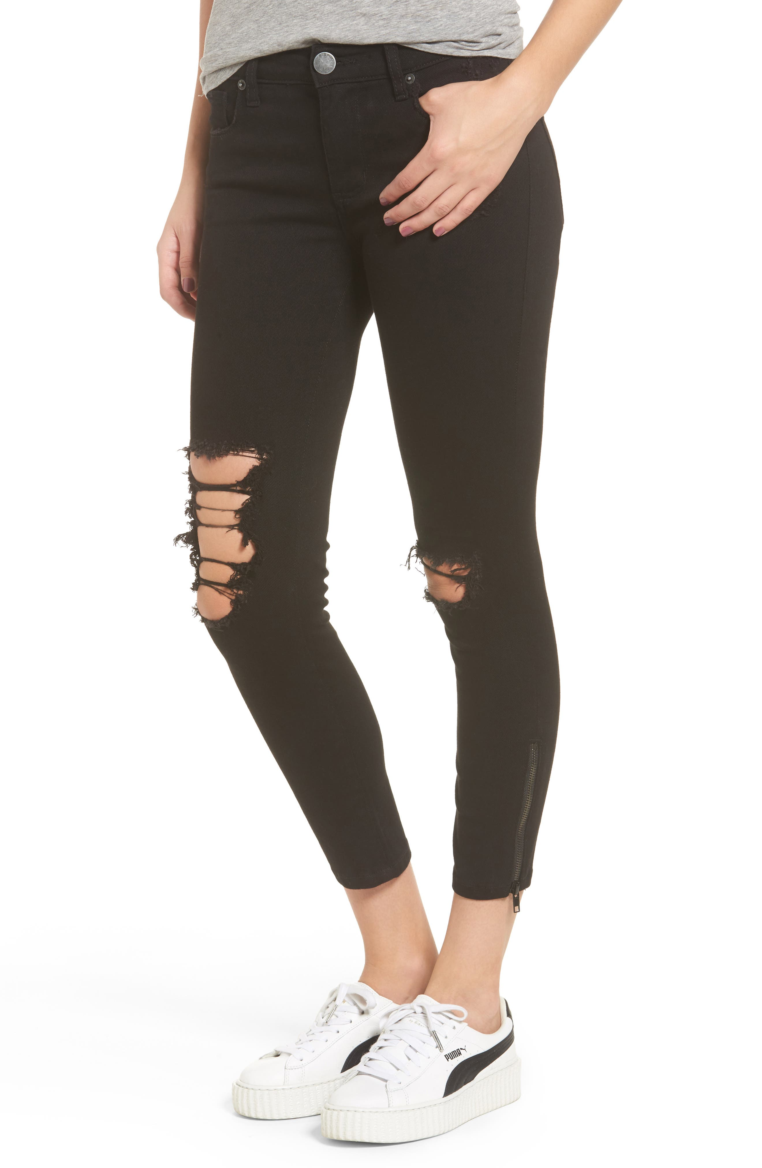 Emma Side Zip Skinny Jeans,                         Main,                         color, Black