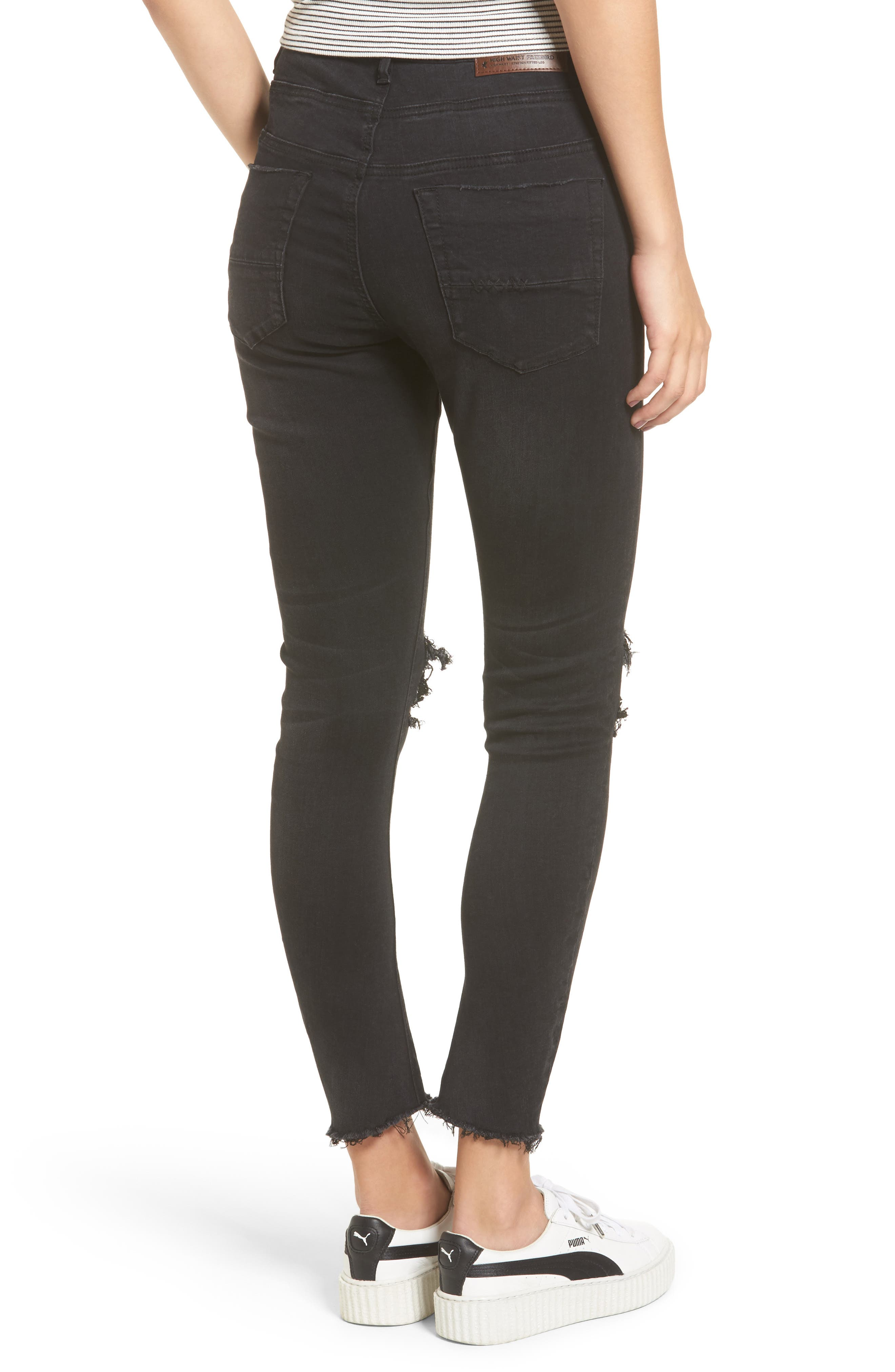 Alternate Image 2  - One Teaspoon Freebirds Ripped High Waist Skinny Jeans (Black Punk)
