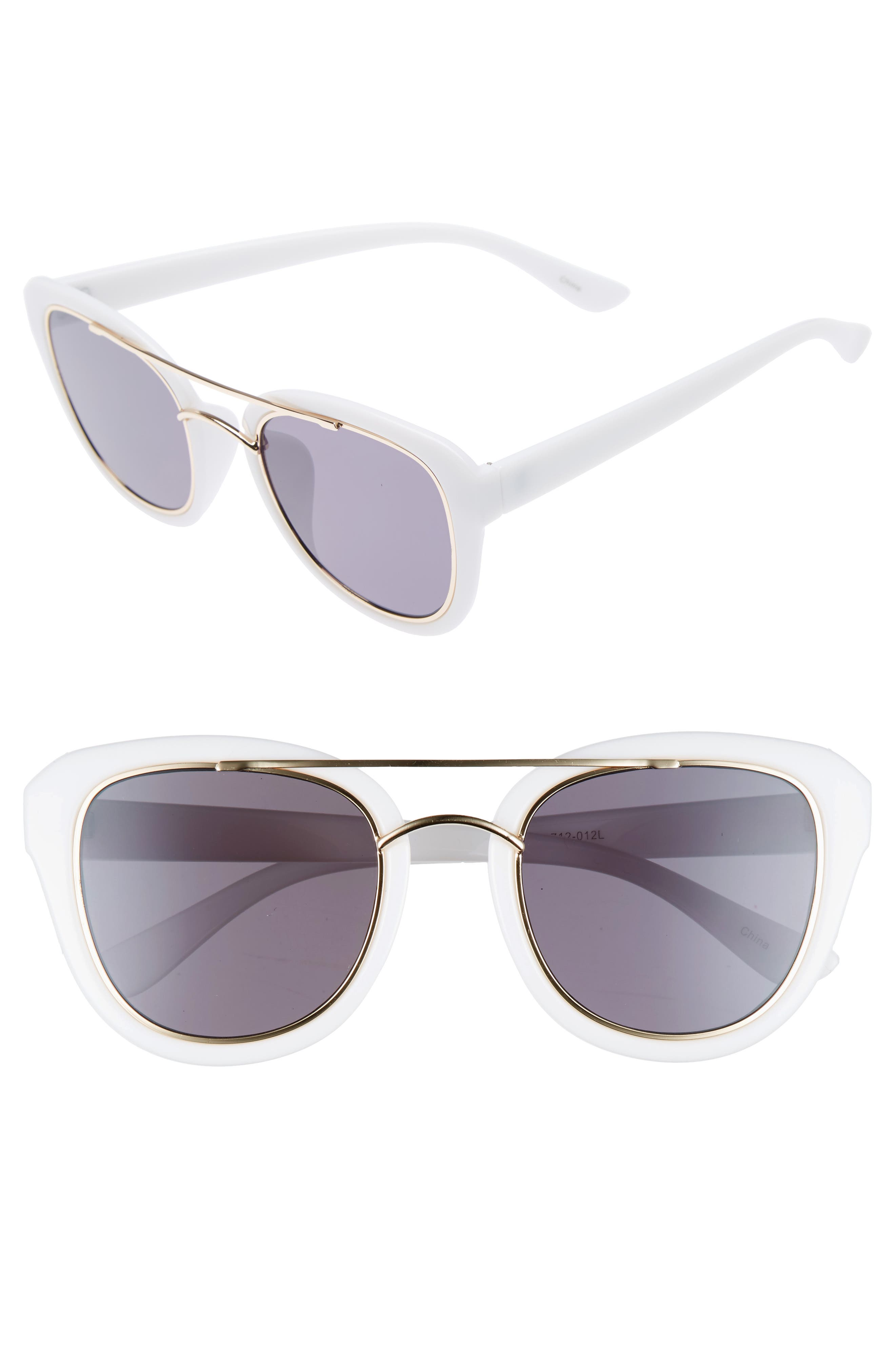 BP. 50mm Brow Bar Cat Eye Sunglasses