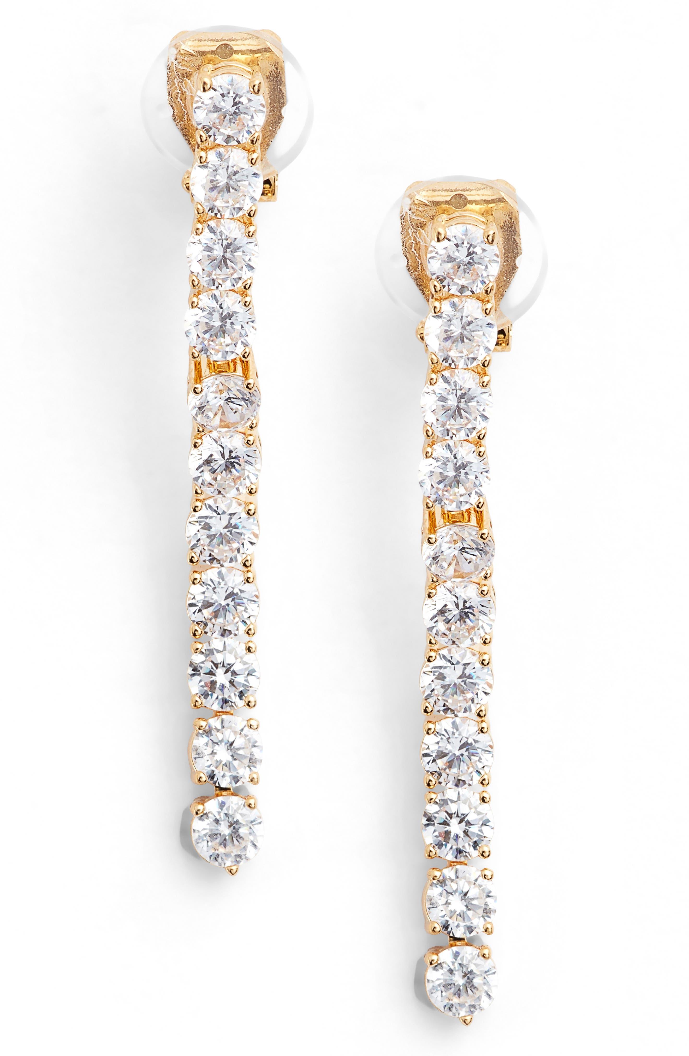 NADRI Cubic Zirconia Linear Drop Earrings