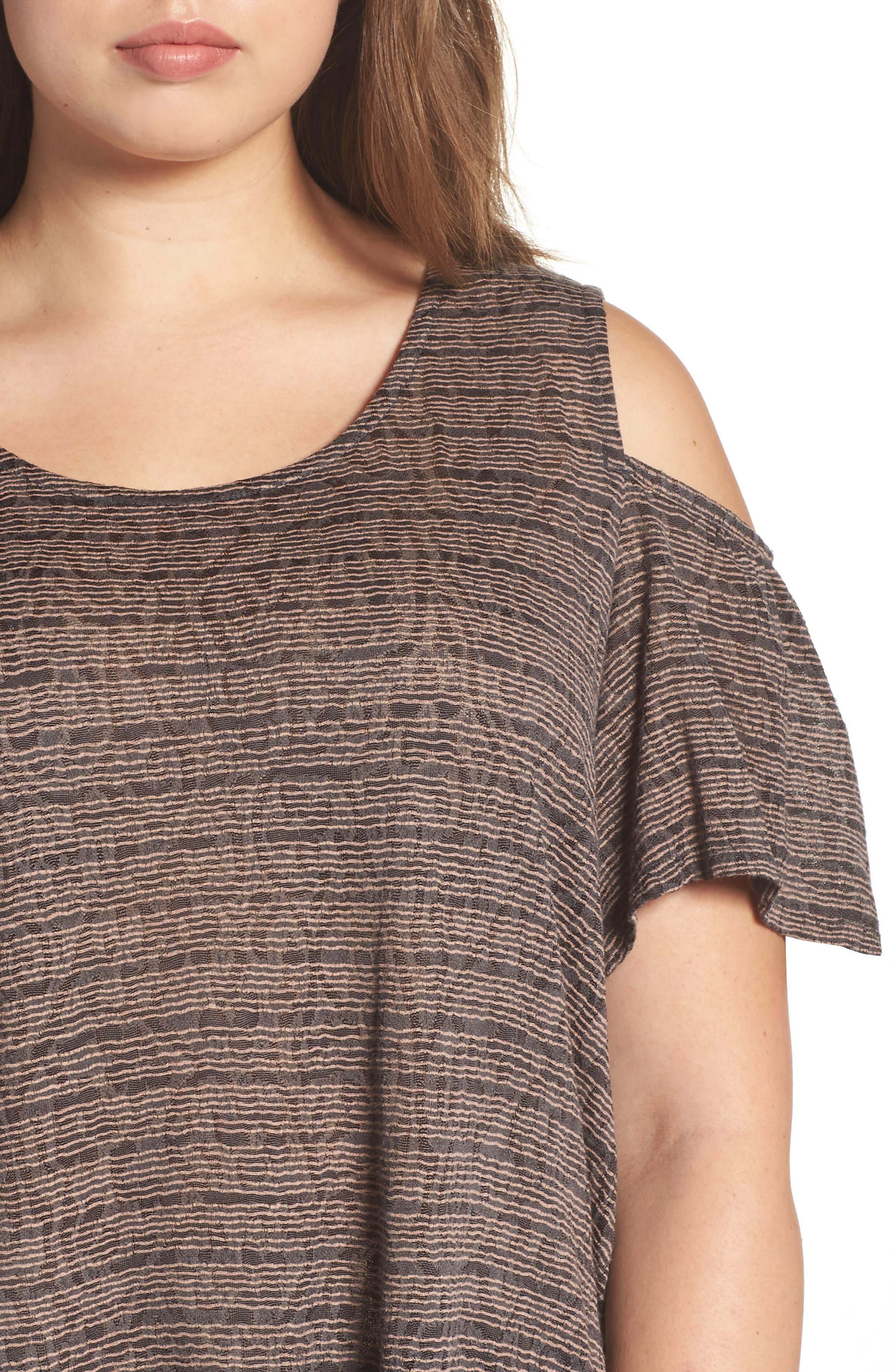 Alternate Image 4  - Lucky Brand Stripe Cold Shoulder Top (Plus Size)