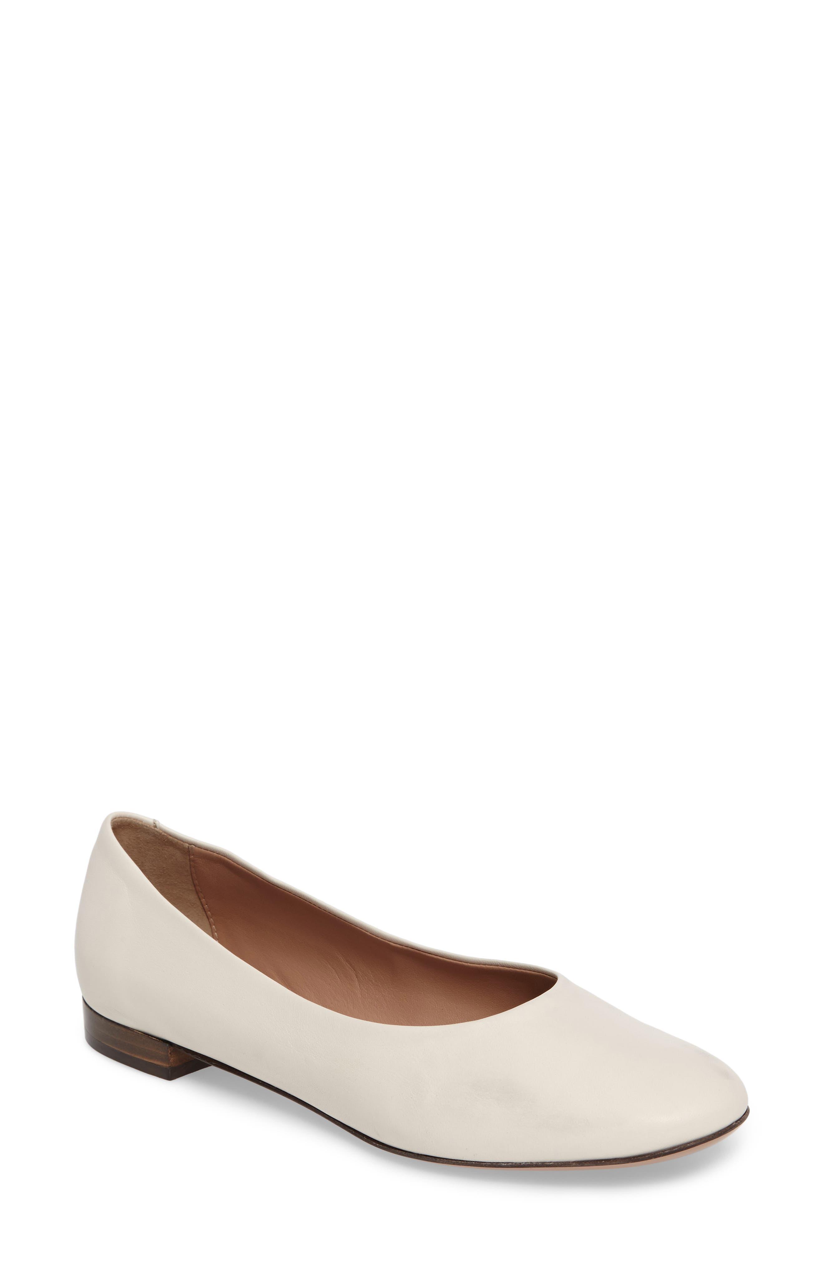 Gemma Ballerina Flat,                         Main,                         color, Bone Leather