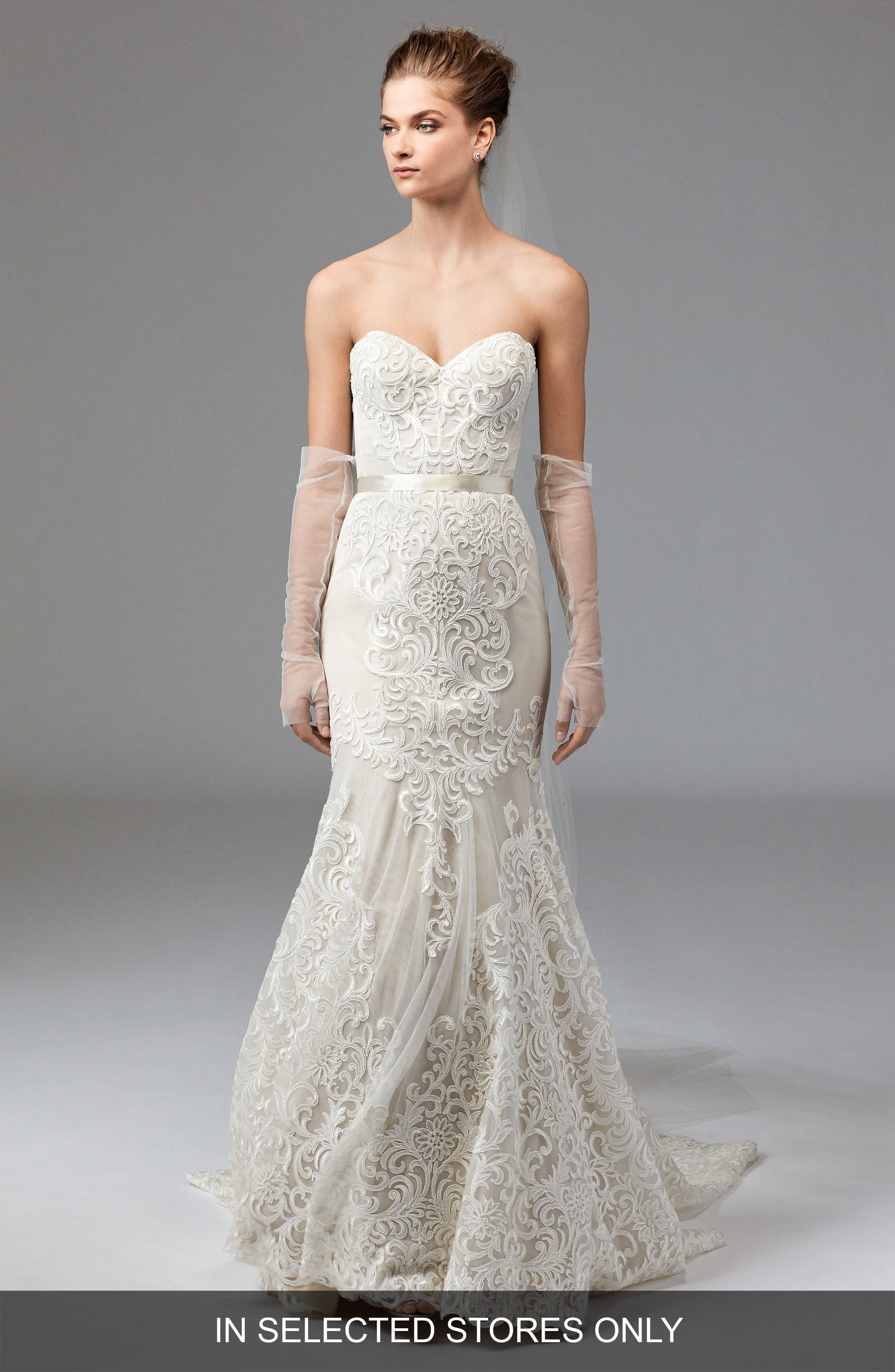 Alice Embroidered Strapless Trumpet Gown,                             Main thumbnail 1, color,                             Ivory/Champagne/Vanilla Bean