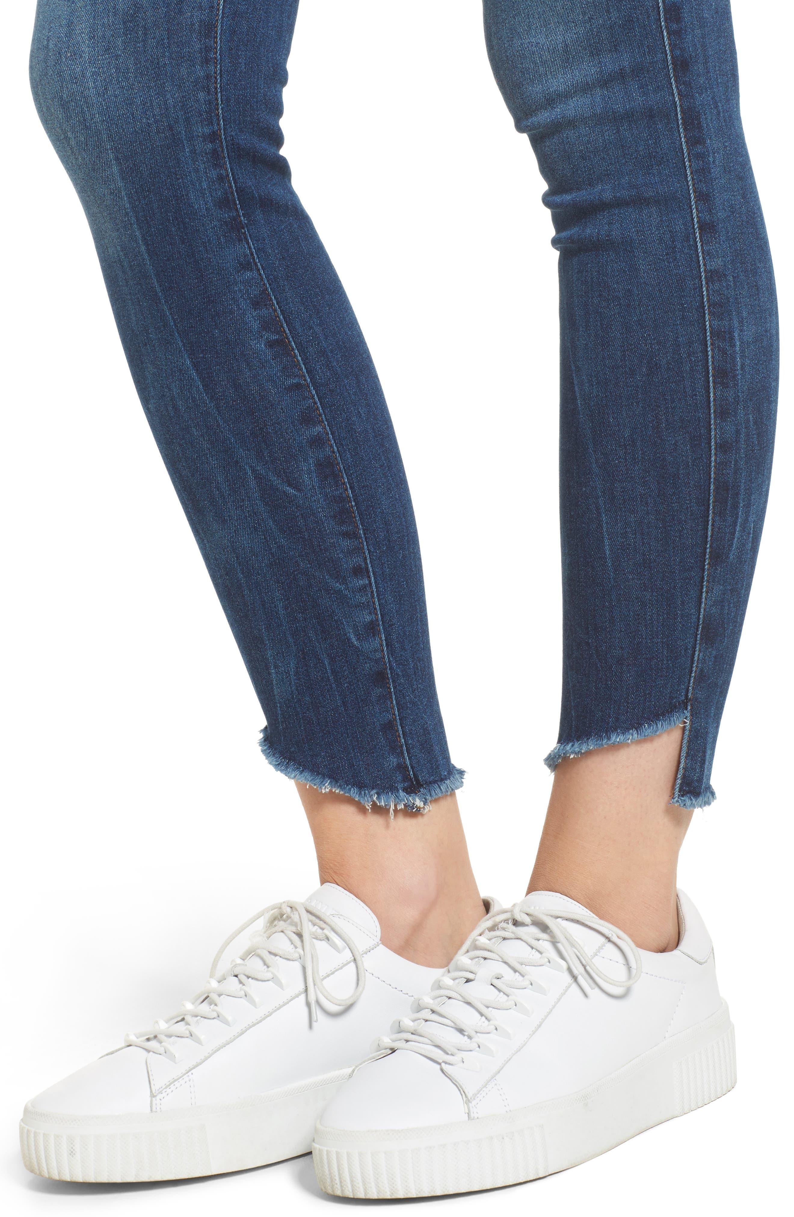 Alternate Image 4  - Fidelity Denim Mila Step Hem Skinny Jeans (Vintage Blue)