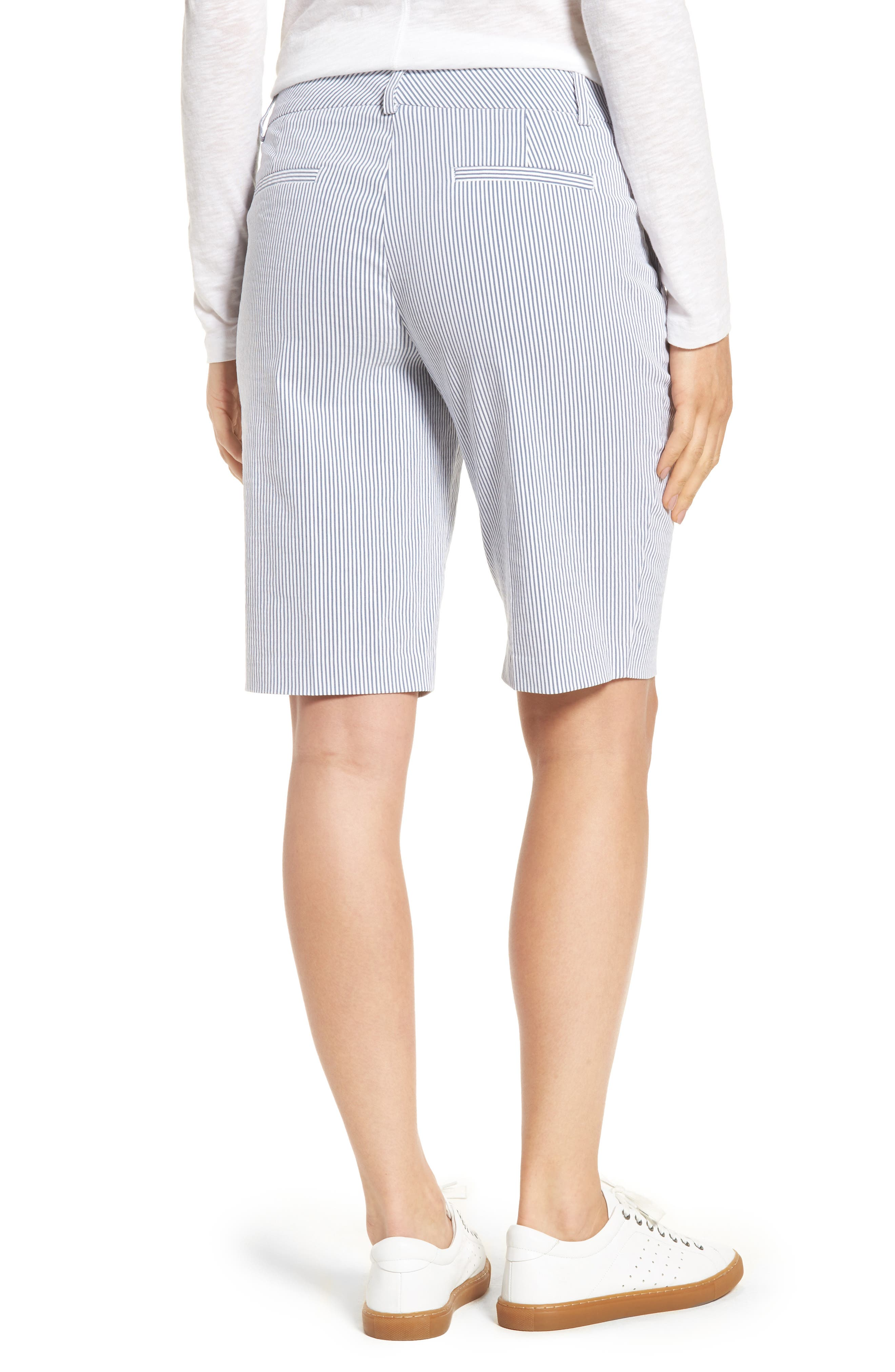 Stretch Bermuda Shorts,                             Alternate thumbnail 2, color,                             Blue- White Seersucker