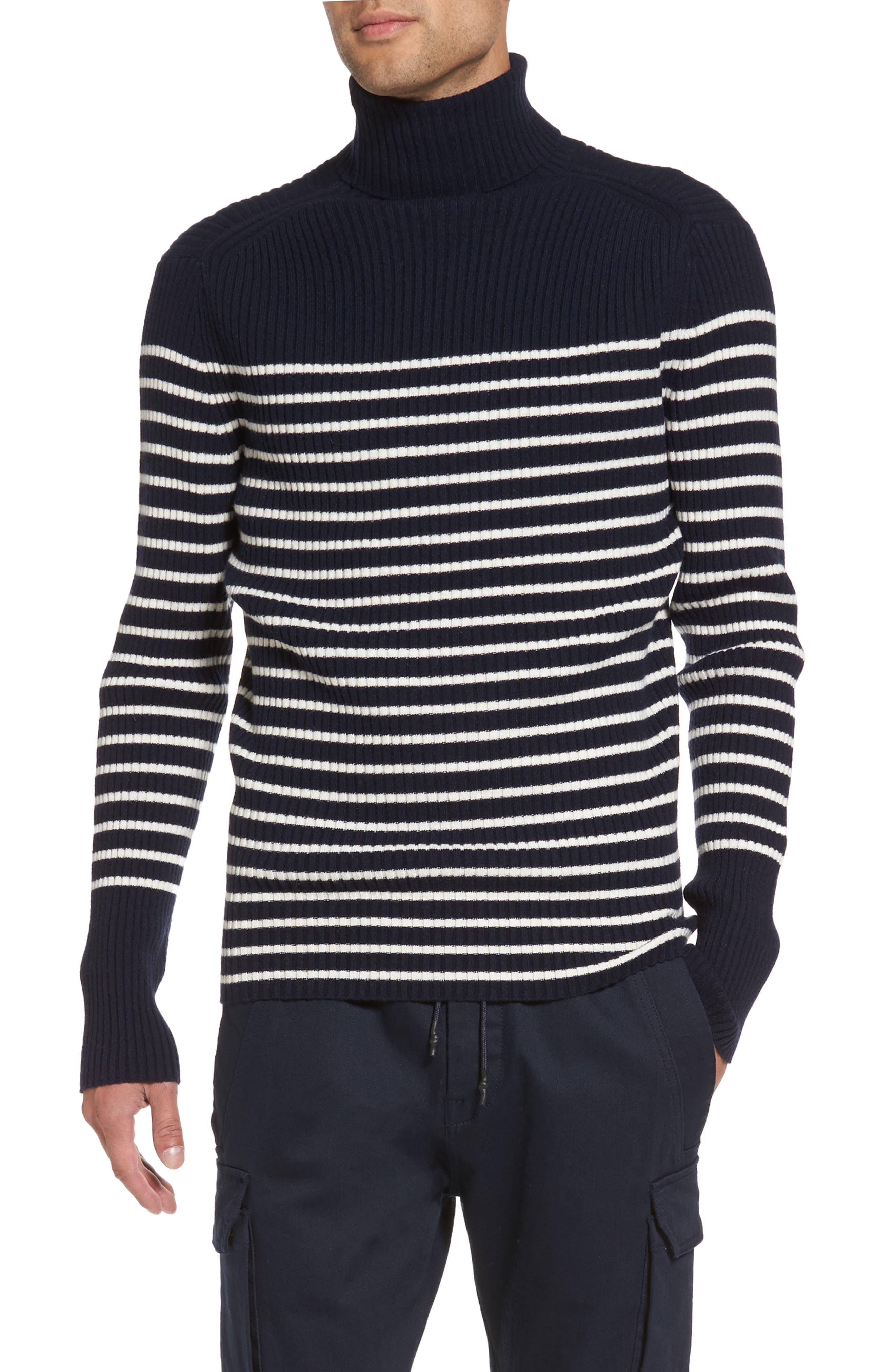Vince Regular Fit Breton Stripe Cashmere Turtleneck Sweater