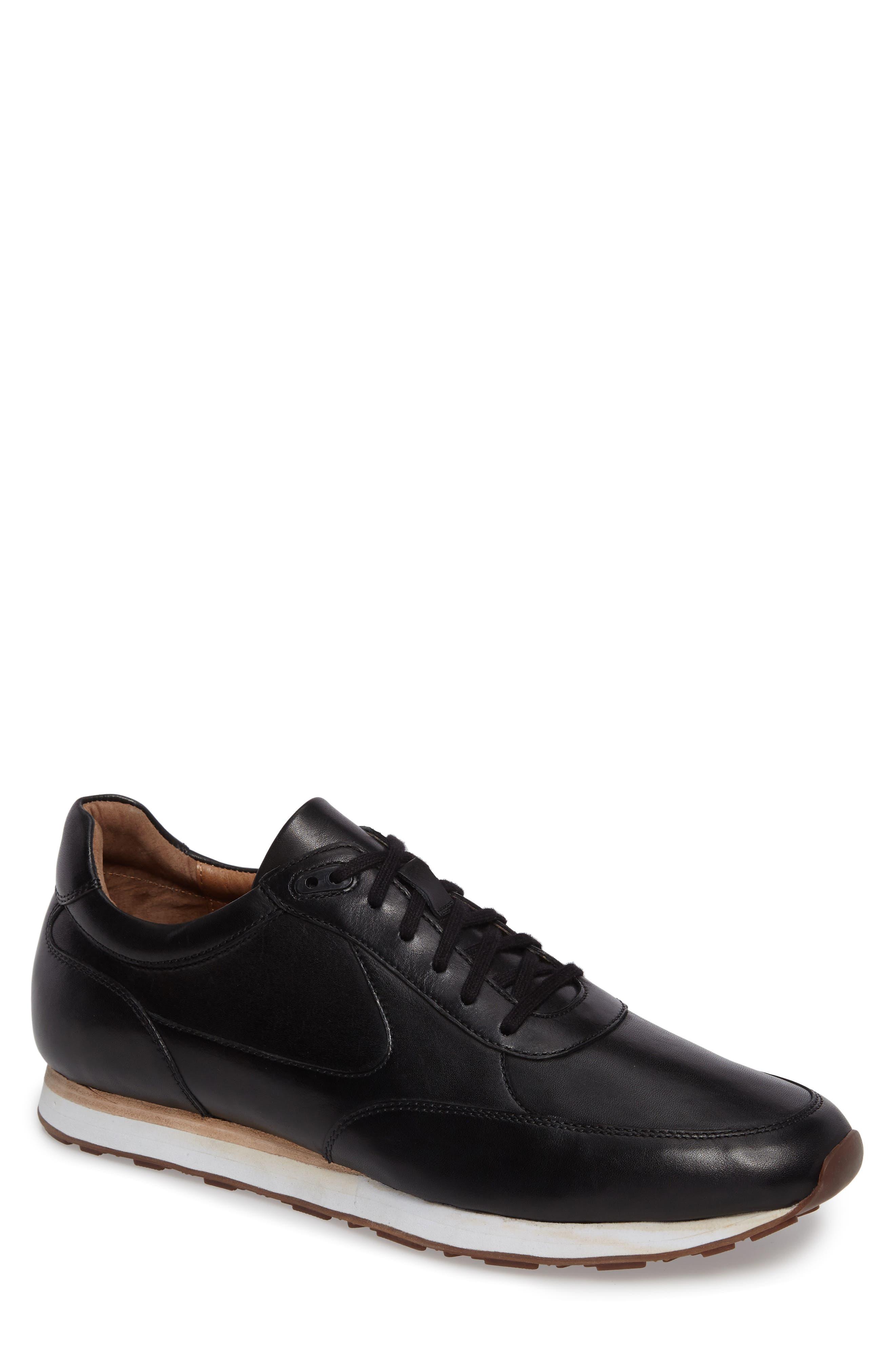 Malek Sneaker,                         Main,                         color, Black Leather