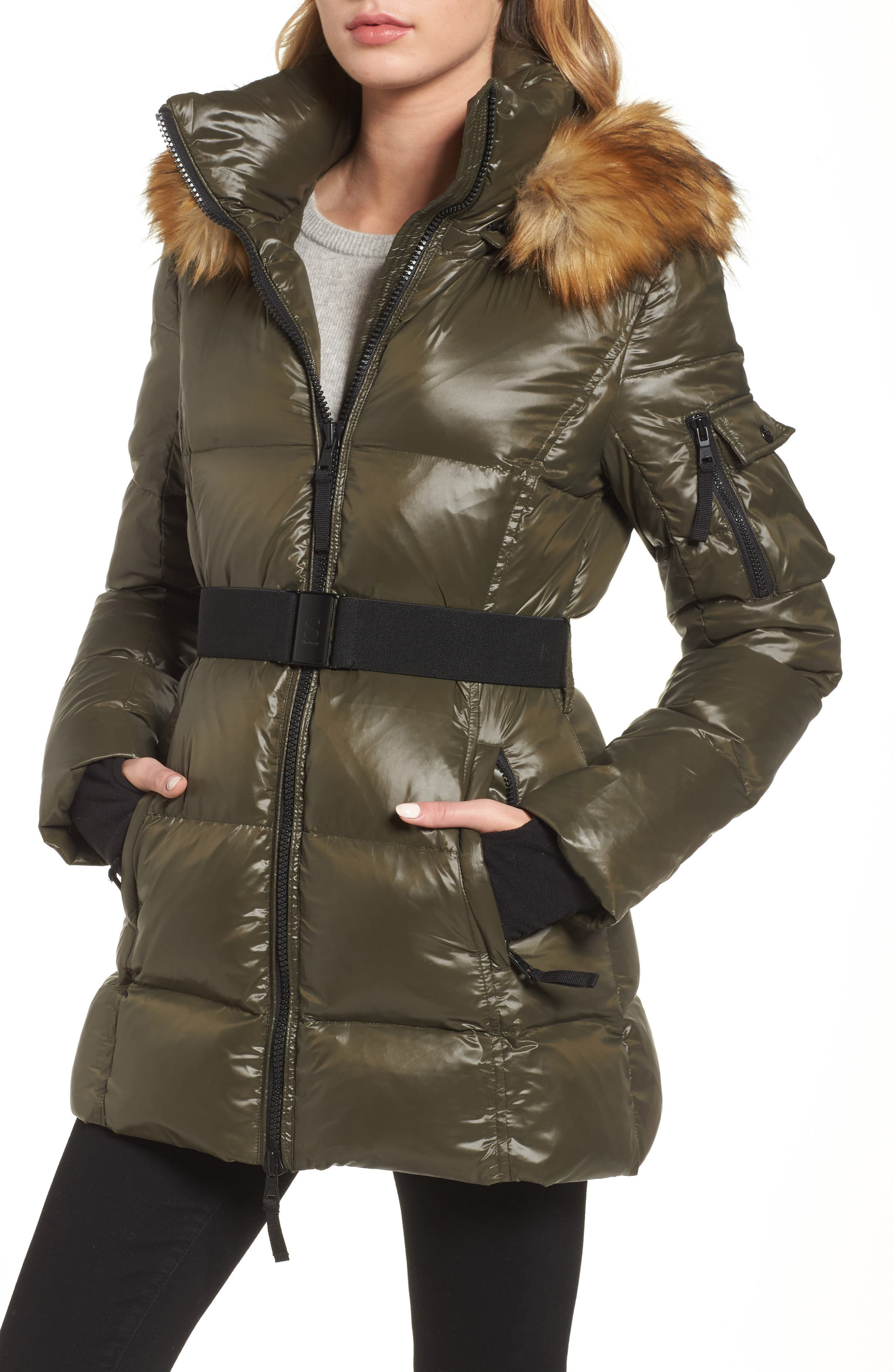 Main Image - S13 'Nicky' Quilted Coat with Removable Faux Fur Trimmed Hood