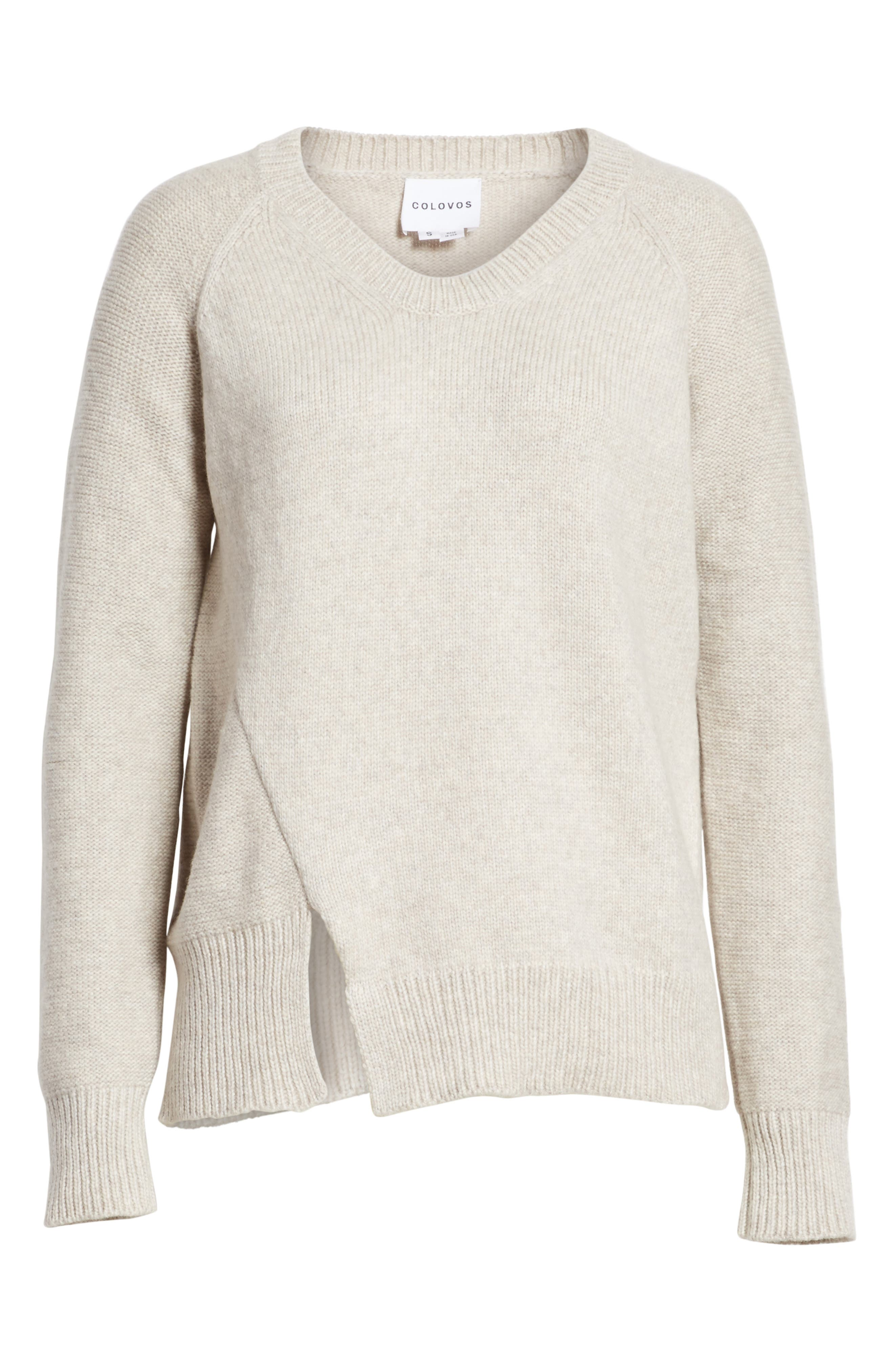 Asymmetrical Wide Neck Sweater,                             Alternate thumbnail 6, color,                             Sand