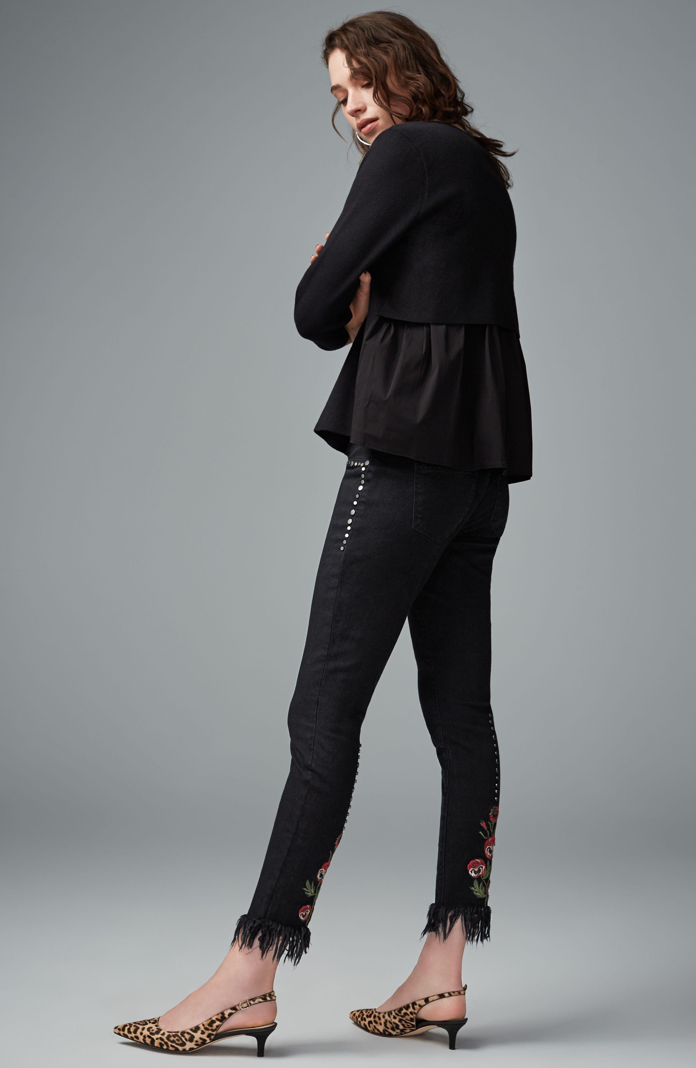 Embroidered & Studded Skinny Jeans,                             Alternate thumbnail 2, color,                             Hidden Talent Black
