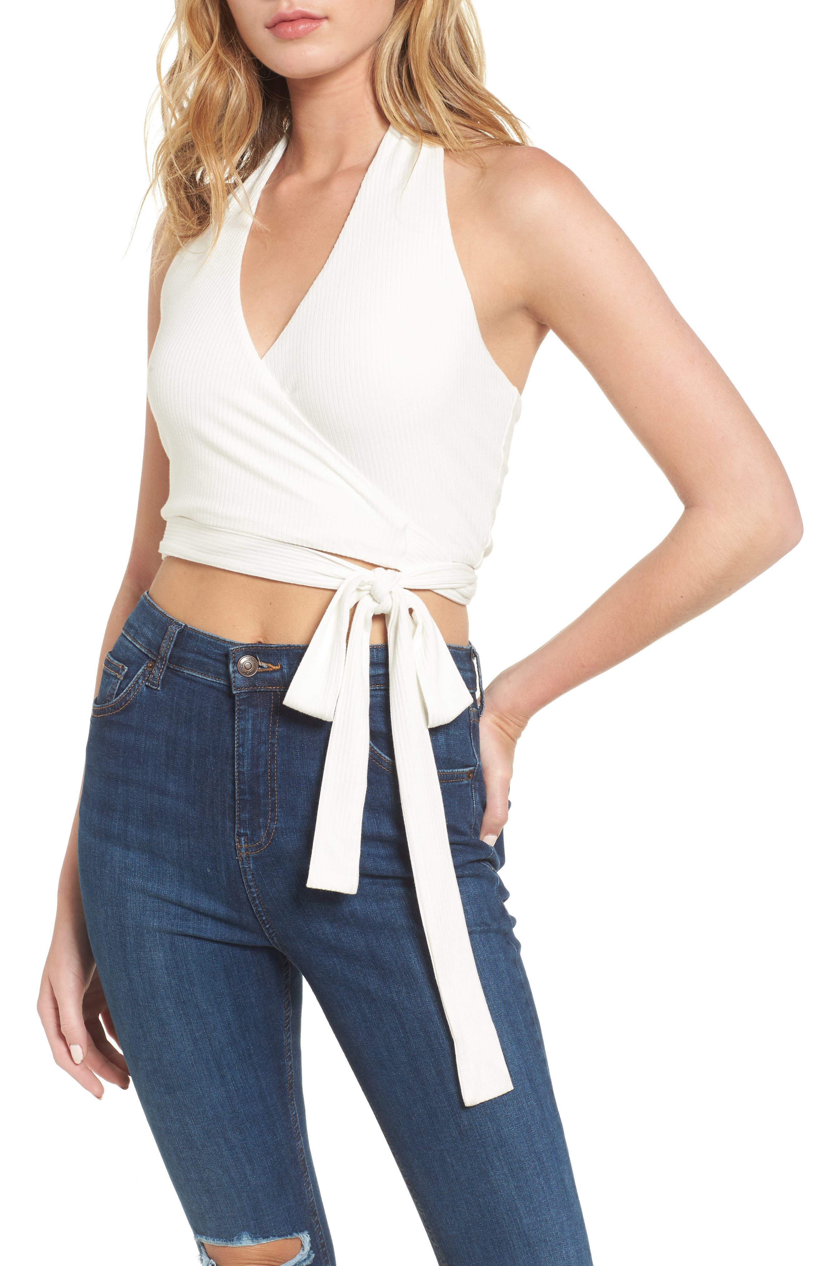Belle Wrap Halter Top,                         Main,                         color, Blanc