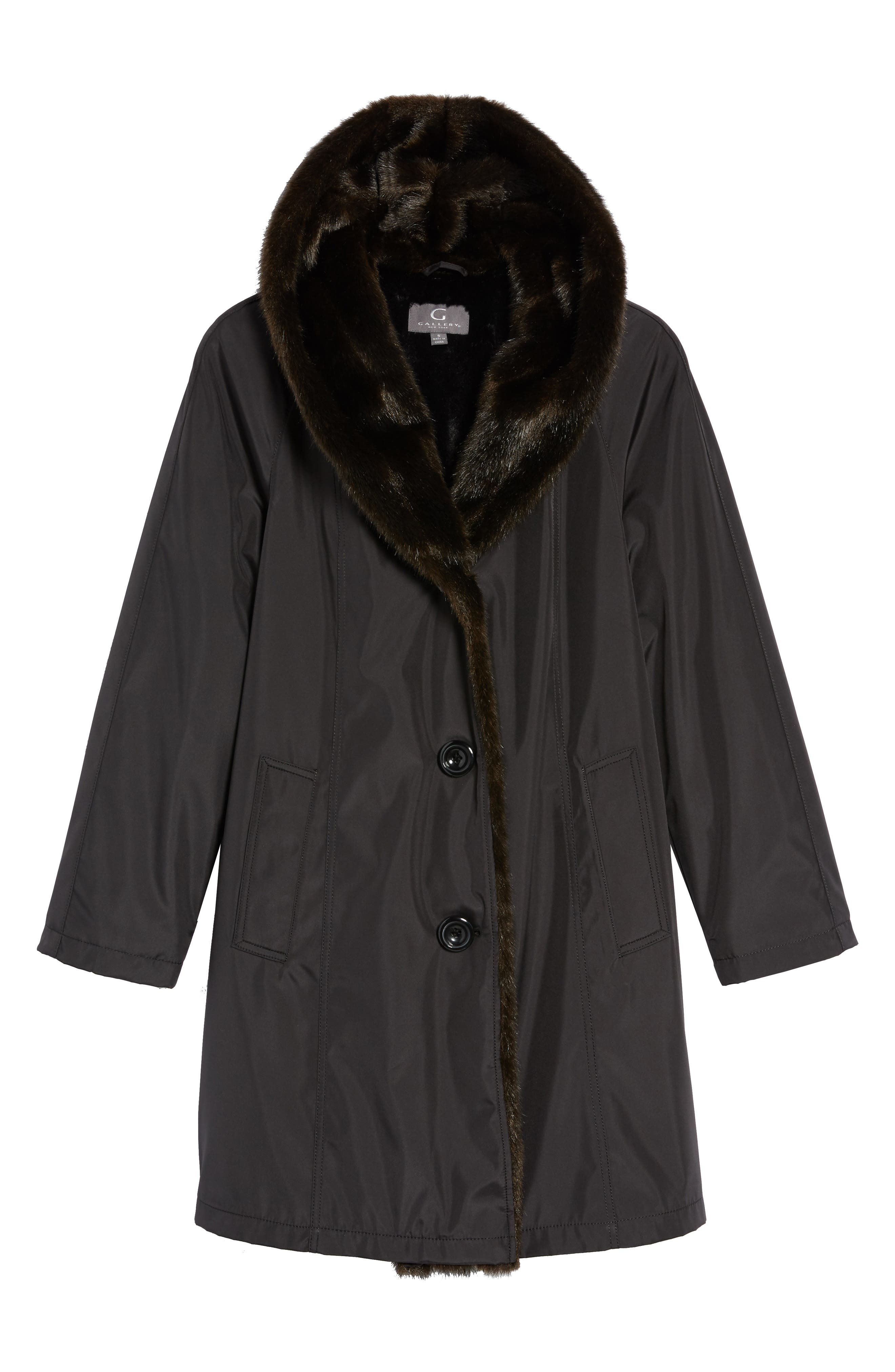 Alternate Image 6  - Gallery Storm Coat with Faux Fur Trim & Lining