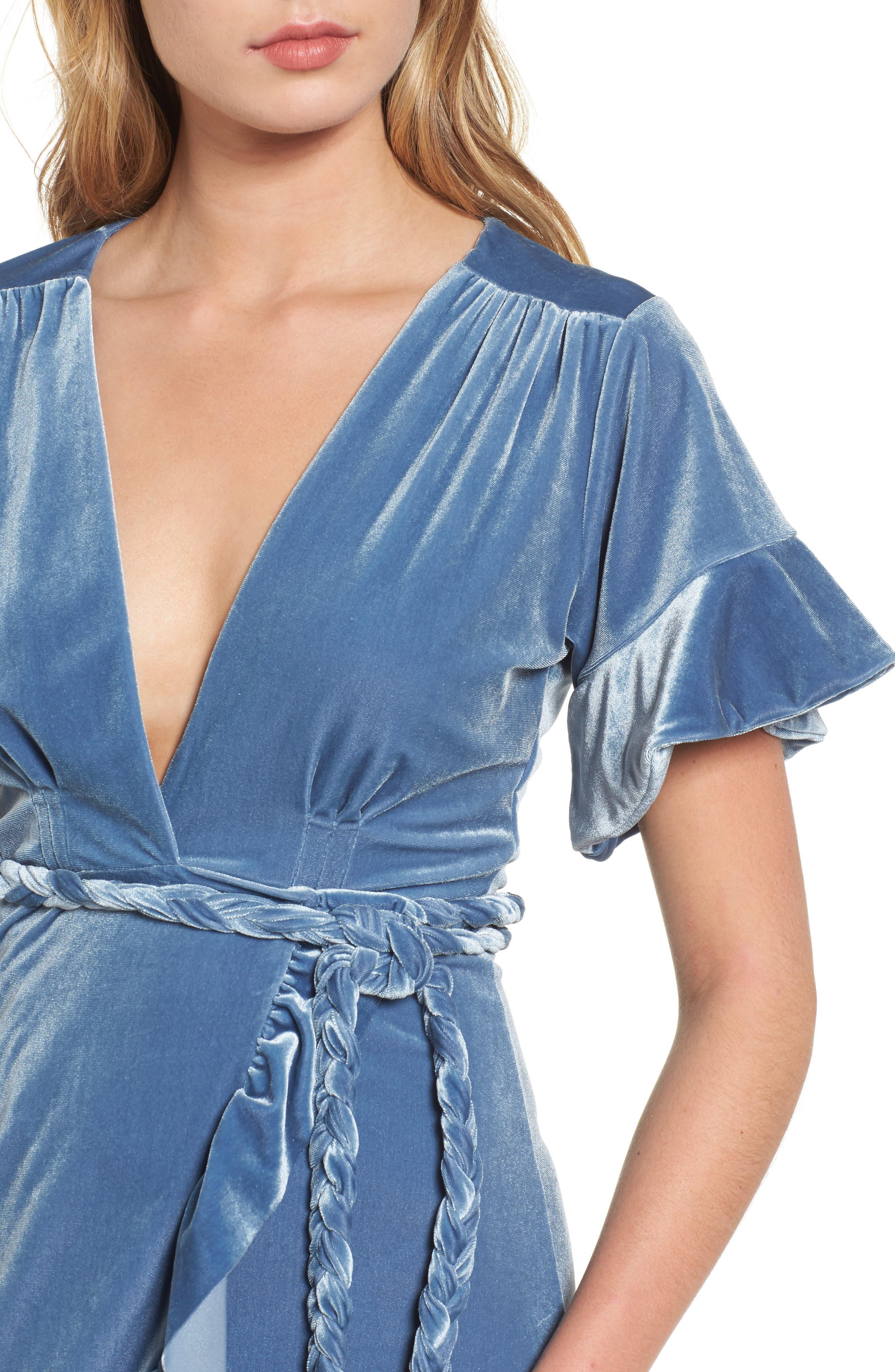 Selina Velvet Wrap Dress,                             Alternate thumbnail 4, color,                             Blue Velvet