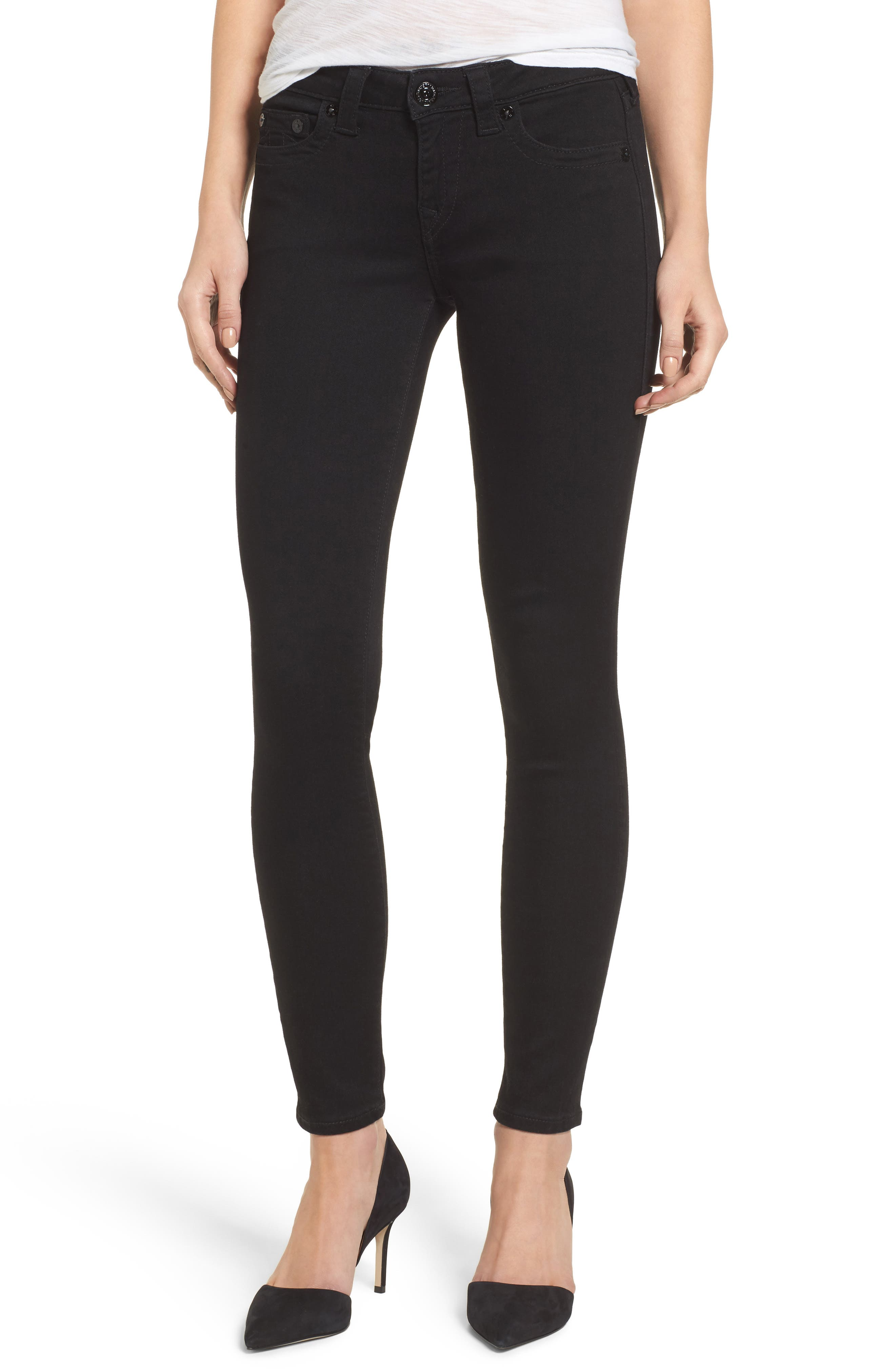 Halle Super Skinny Jeans,                             Main thumbnail 1, color,                             Way Back Black