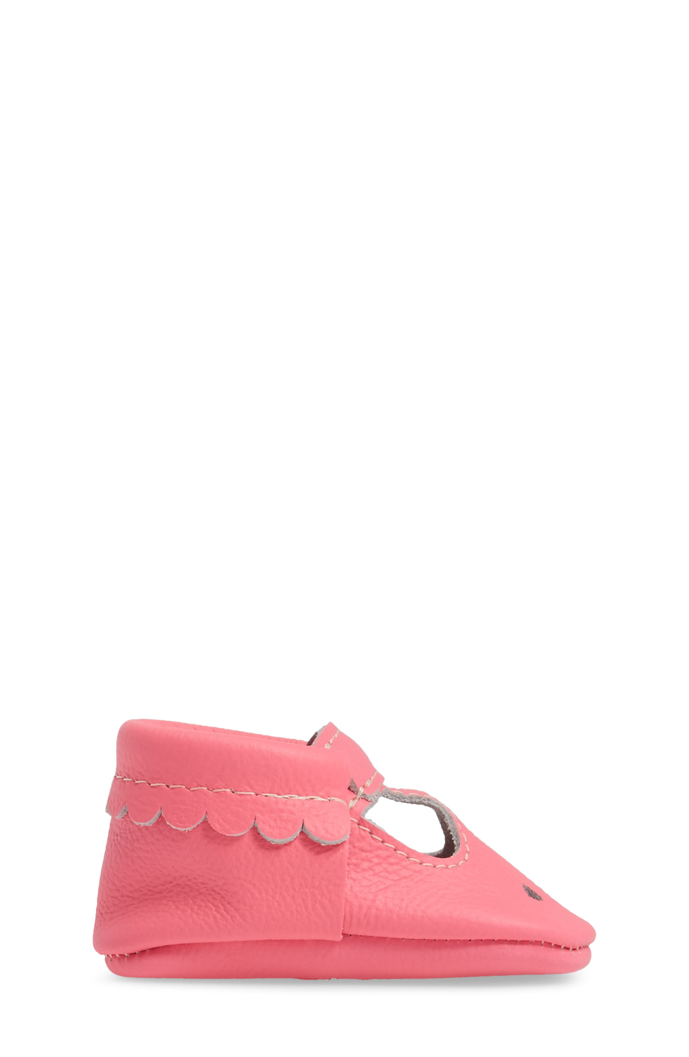Perforated Mary Jane Moccasin,                             Alternate thumbnail 3, color,                             Neon Pink Leather