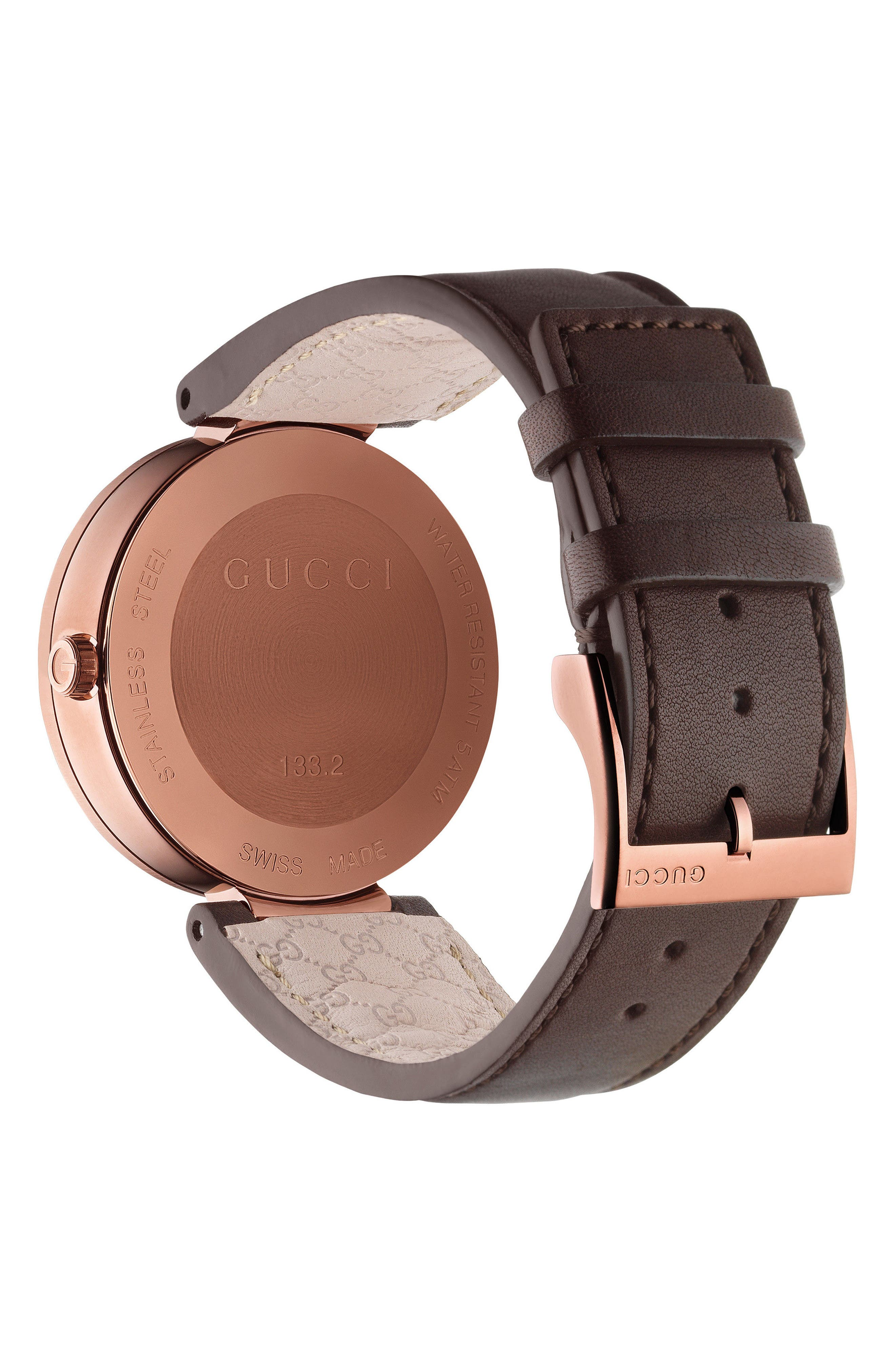 Interlocking Leather Strap Watch, 42mm,                             Alternate thumbnail 2, color,                             Brown