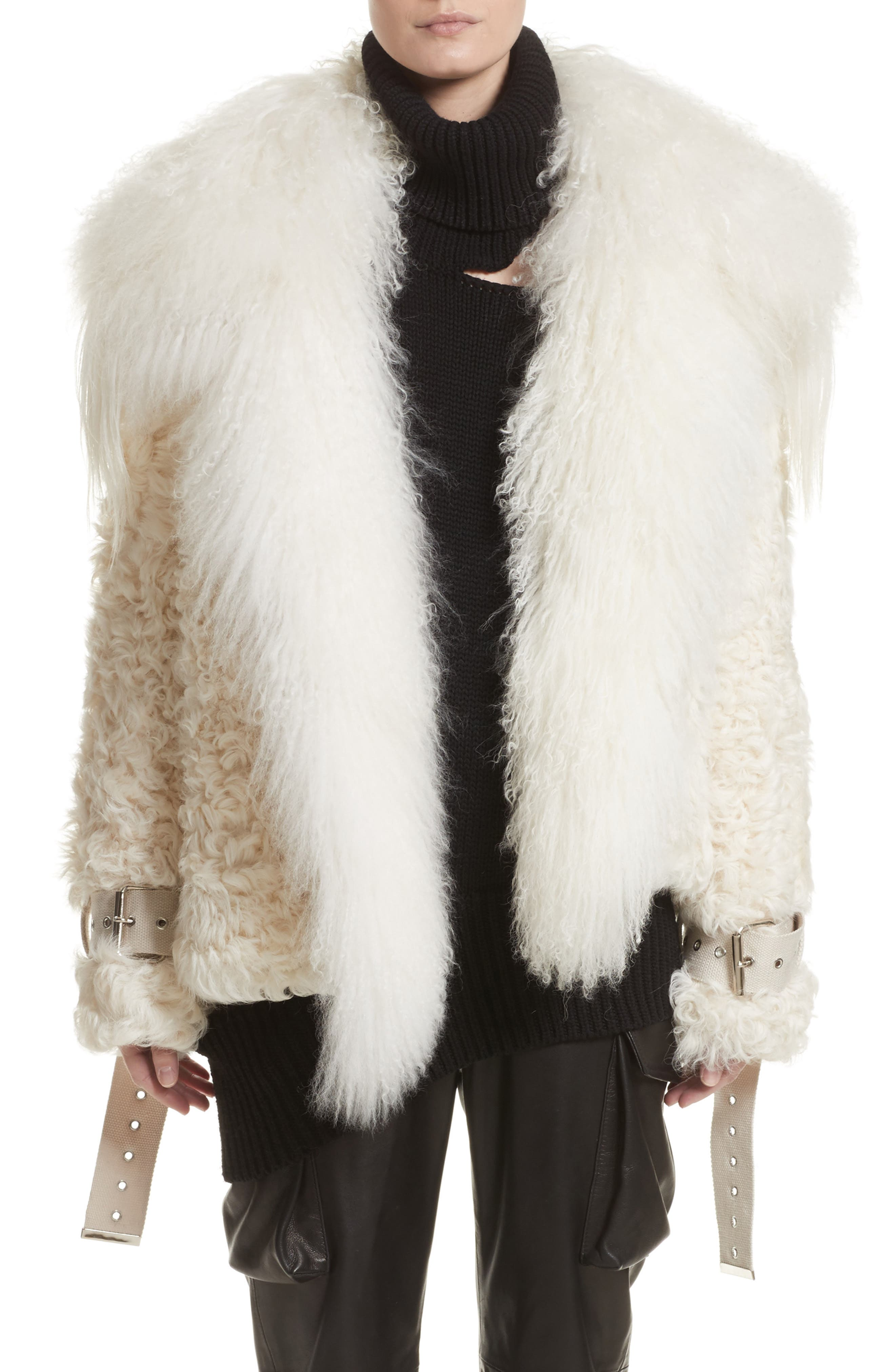 Monse Genuine Shearling & Goat Fur Coat