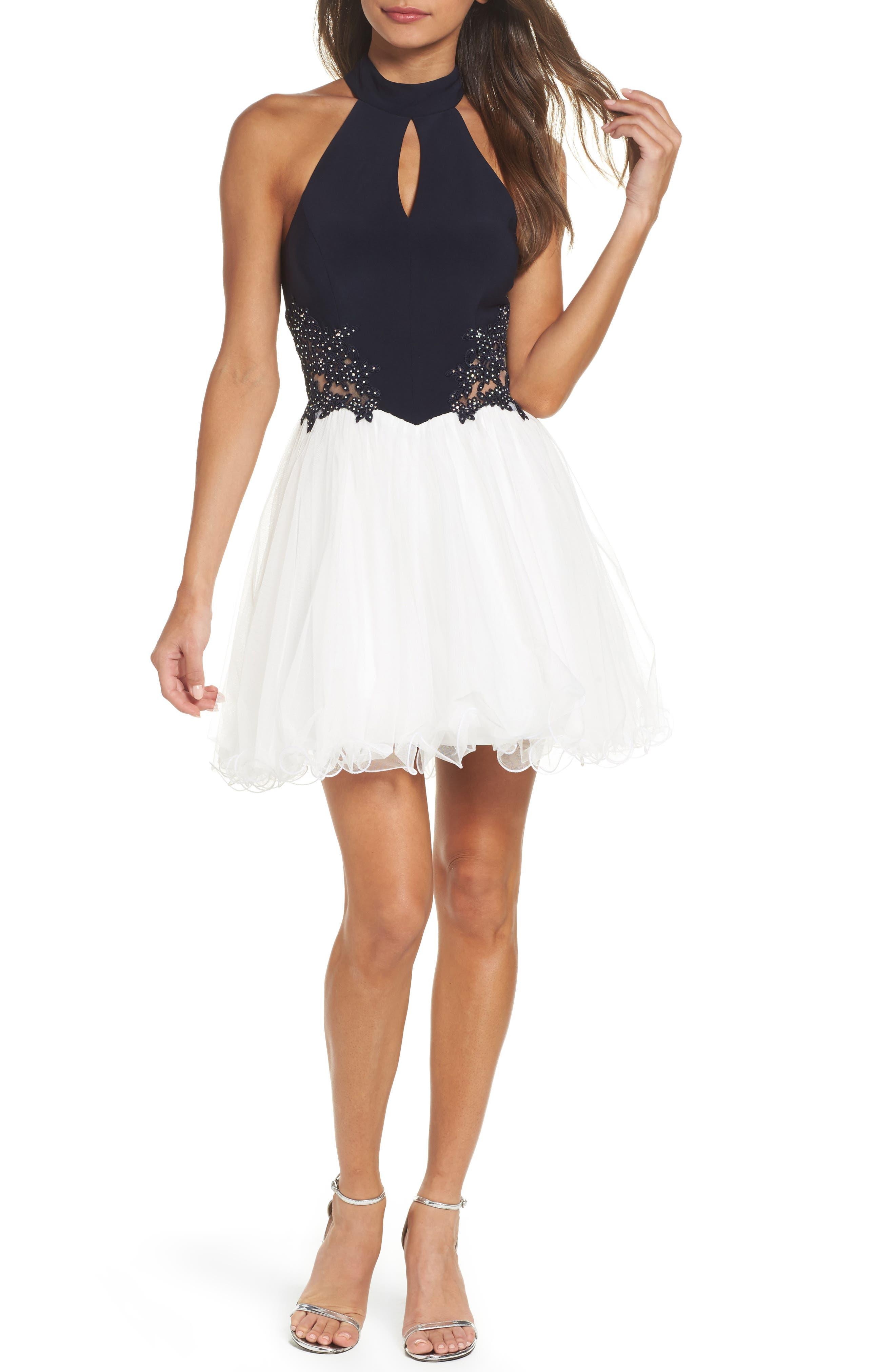 Keyhole Appliqué Fit & Flare Dress,                         Main,                         color, Navy/ Ivory