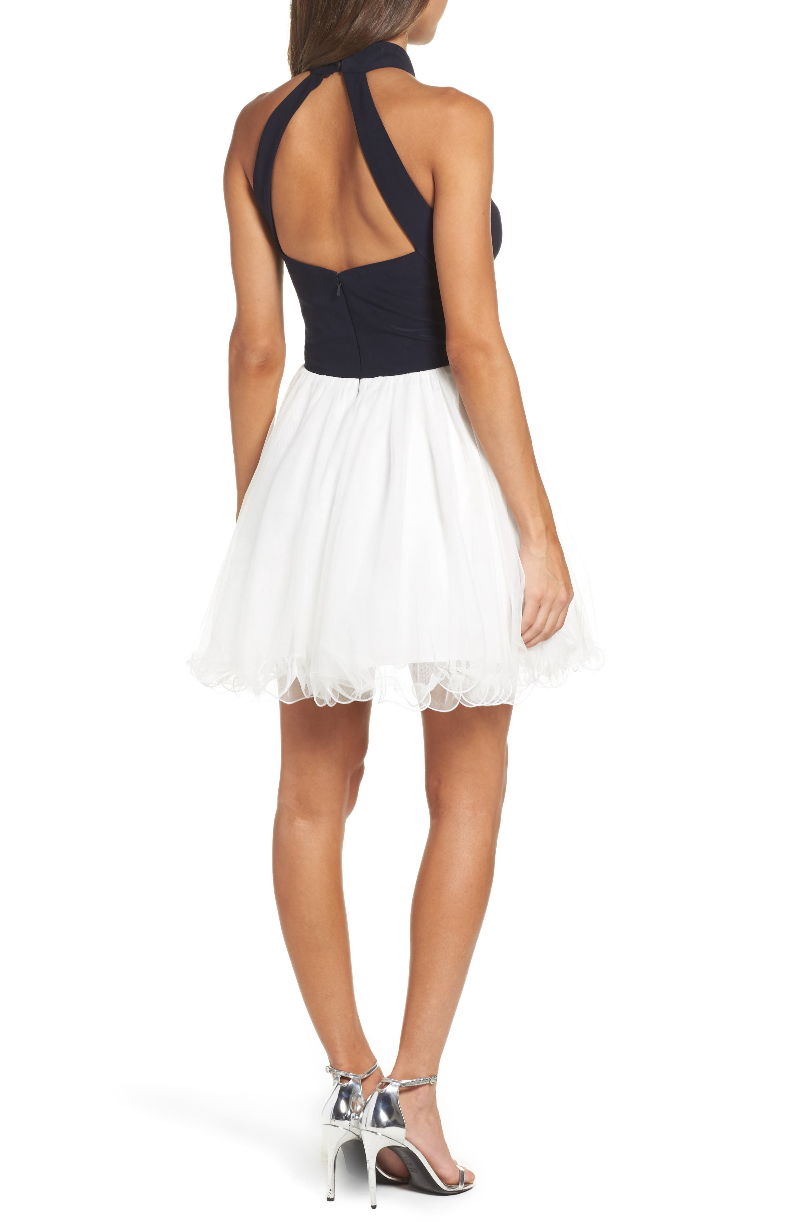 Alternate Image 2  - Blondie Nites Keyhole Appliqué Fit & Flare Dress