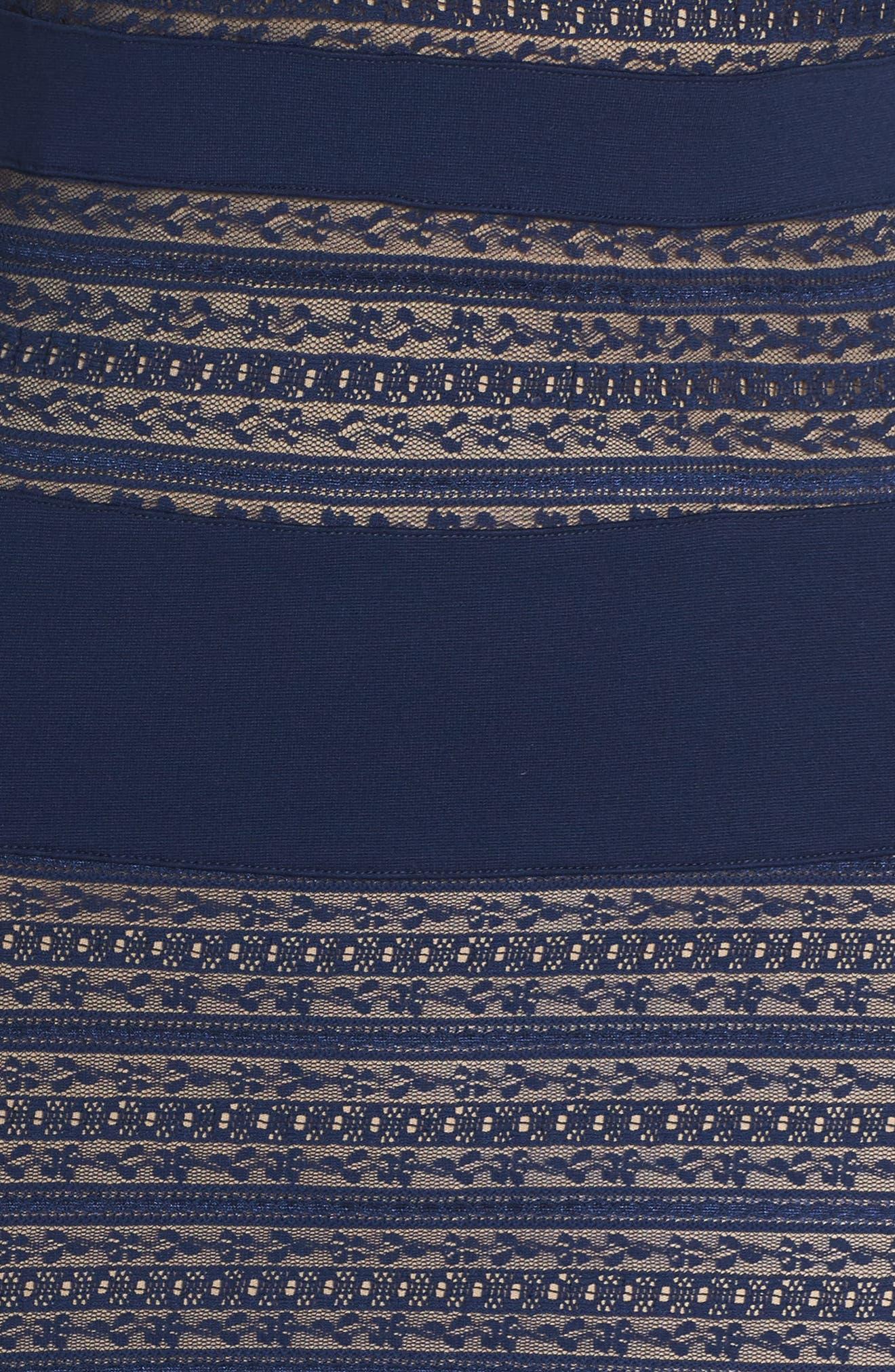 Lovestruck Stripe Body-Con Dress,                             Alternate thumbnail 5, color,                             Navy